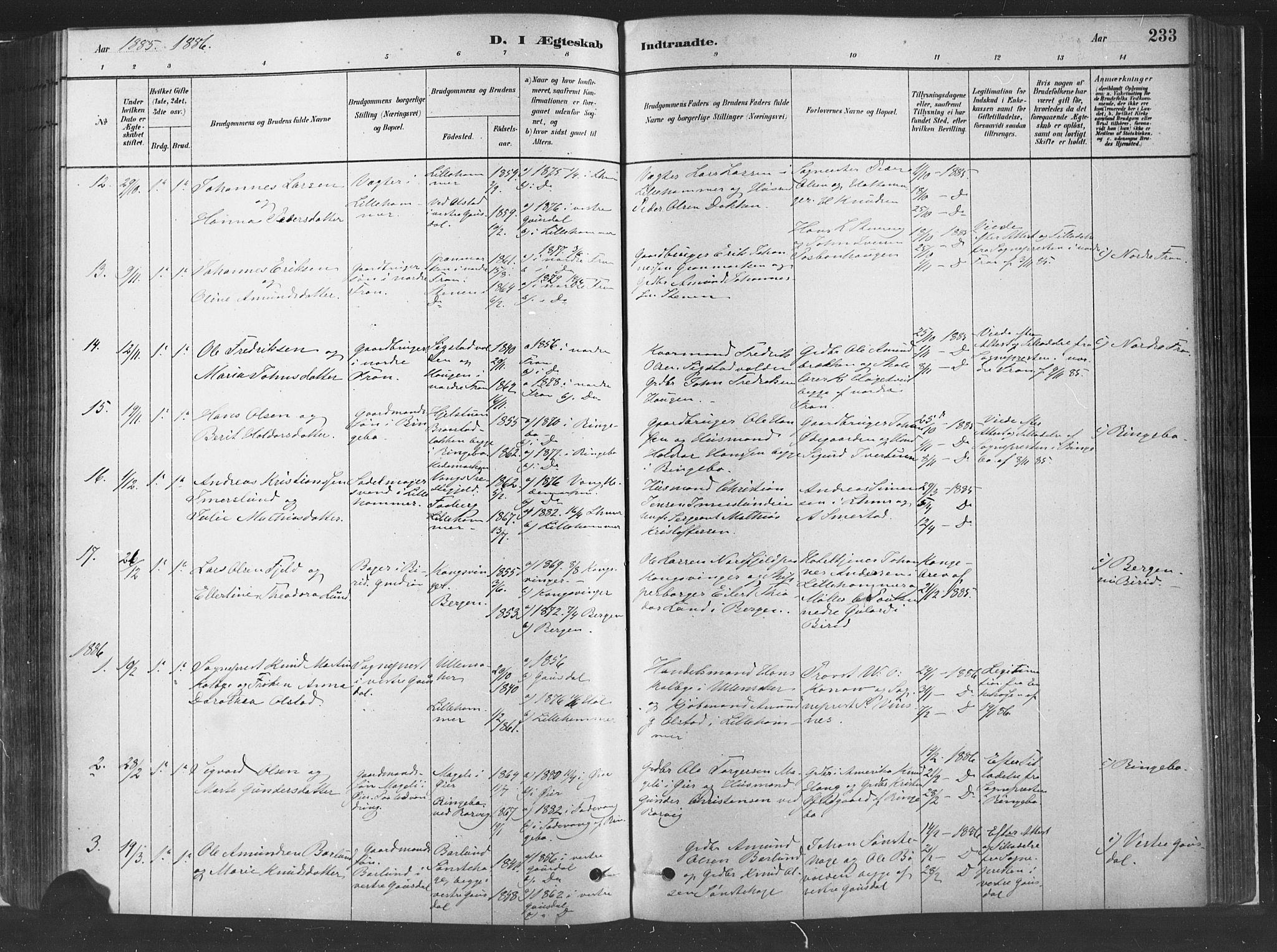 SAH, Fåberg prestekontor, H/Ha/Haa/L0010: Parish register (official) no. 10, 1879-1900, p. 233