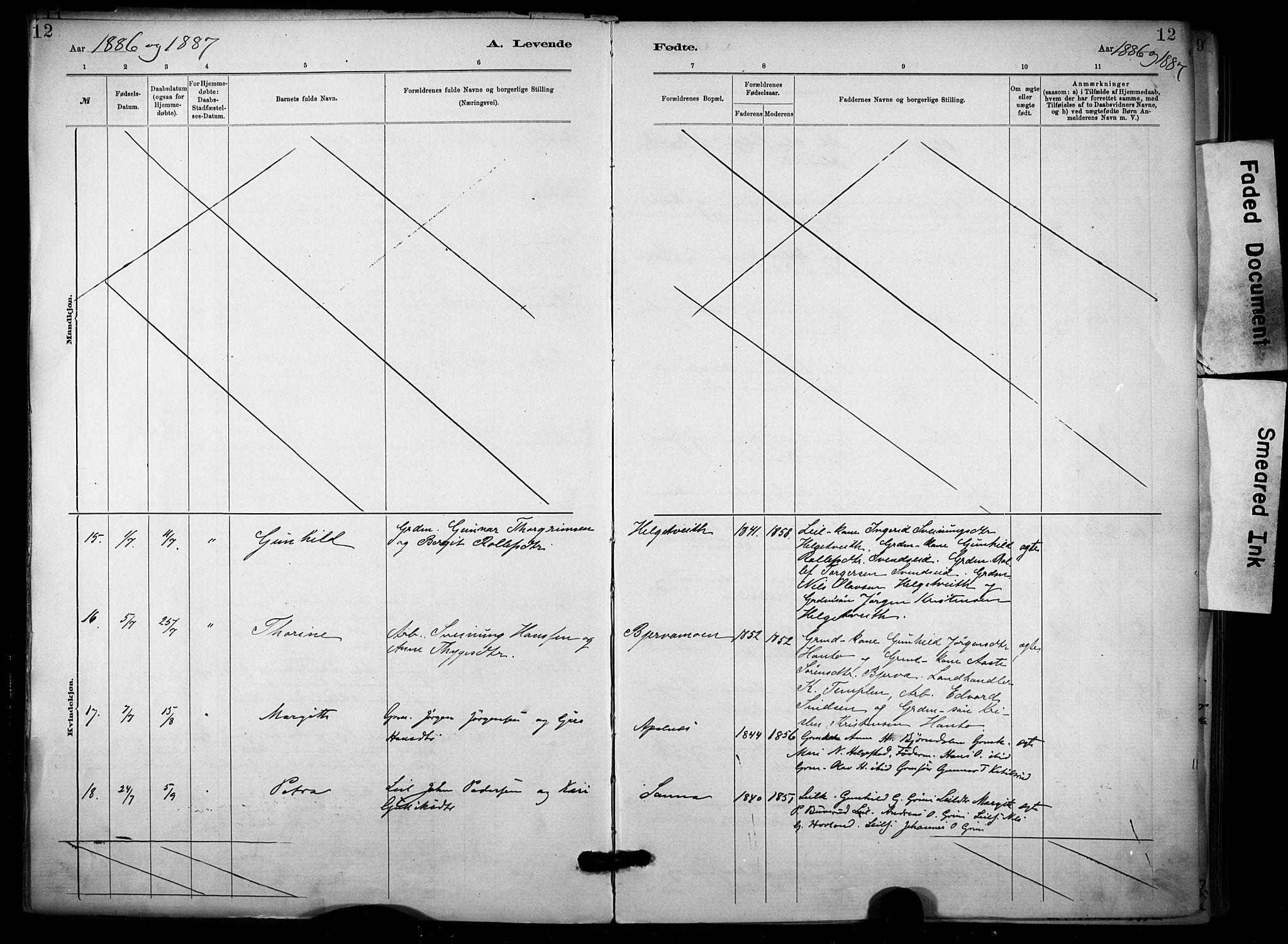 SAKO, Lunde kirkebøker, F/Fa/L0002: Parish register (official) no. I 2, 1884-1892, p. 12