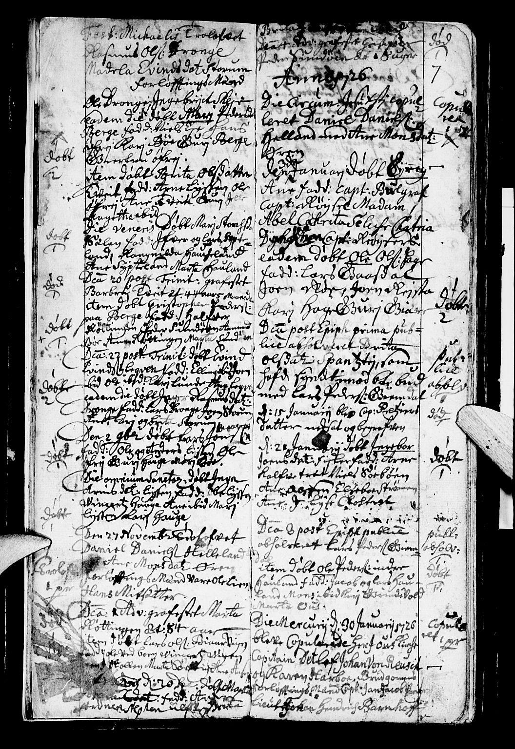 SAB, Os sokneprestembete*, Parish register (official) no. A 2, 1723-1758, p. 7
