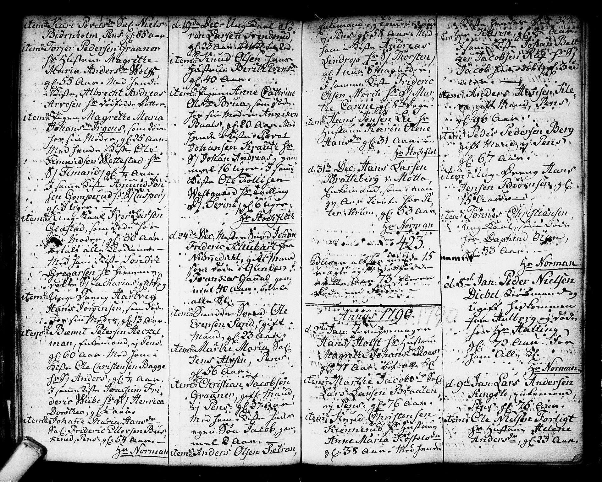 SAKO, Kongsberg kirkebøker, F/Fa/L0006: Parish register (official) no. I 6, 1783-1797, p. 324