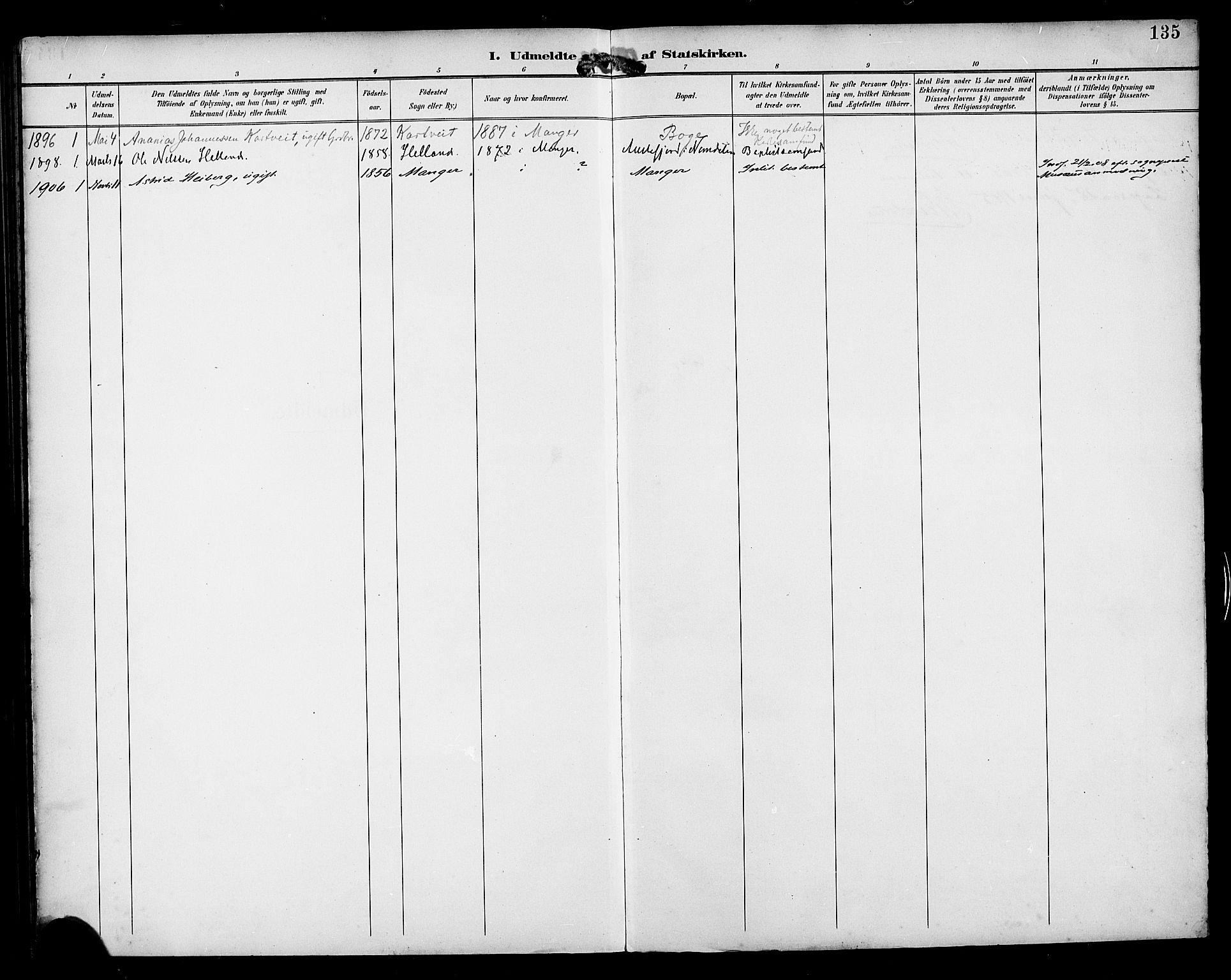 SAB, Manger sokneprestembete, H/Haa: Parish register (official) no. B 2, 1893-1906, p. 135