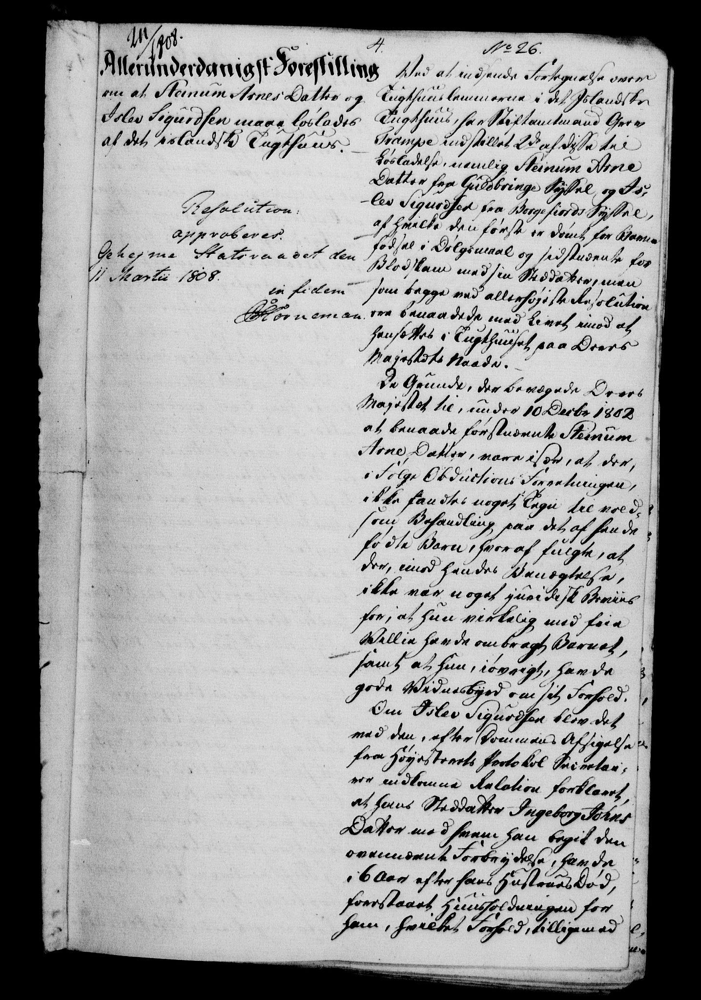 RA, Danske Kanselli 1800-1814, H/Hf/Hfa/Hfab/L0009: Forestillinger, Kanselliets avdeling i Kolding og Rendsborg, 1808-1809
