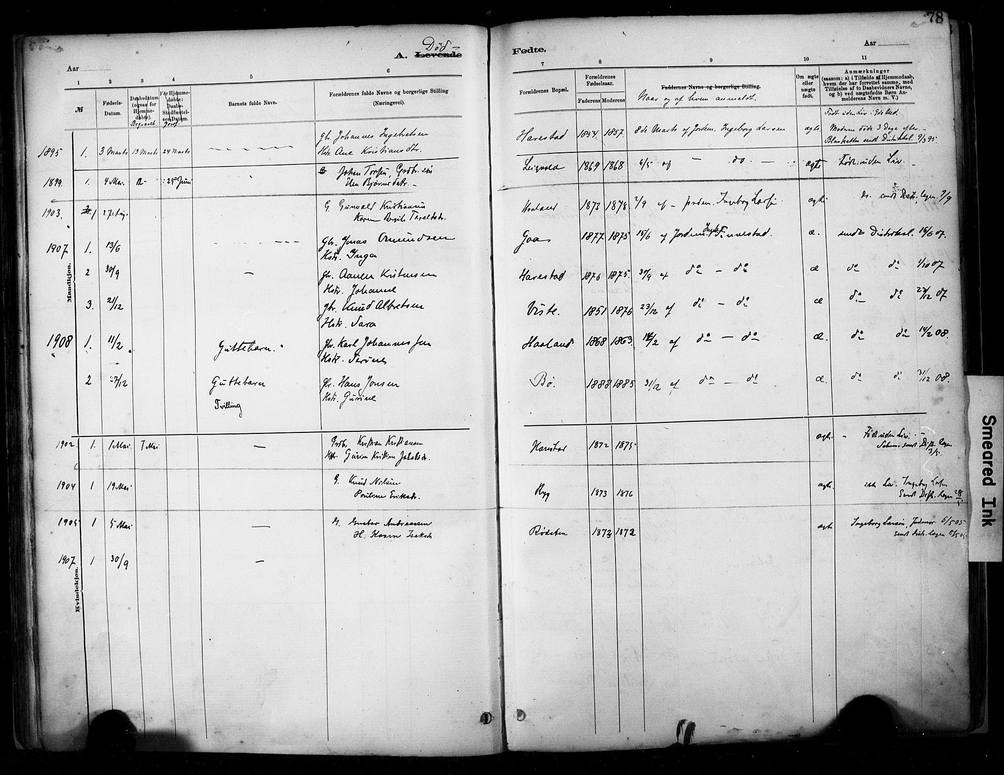 SAST, Hetland sokneprestkontor, 30/30BA/L0009: Parish register (official) no. A 9, 1882-1918, p. 78