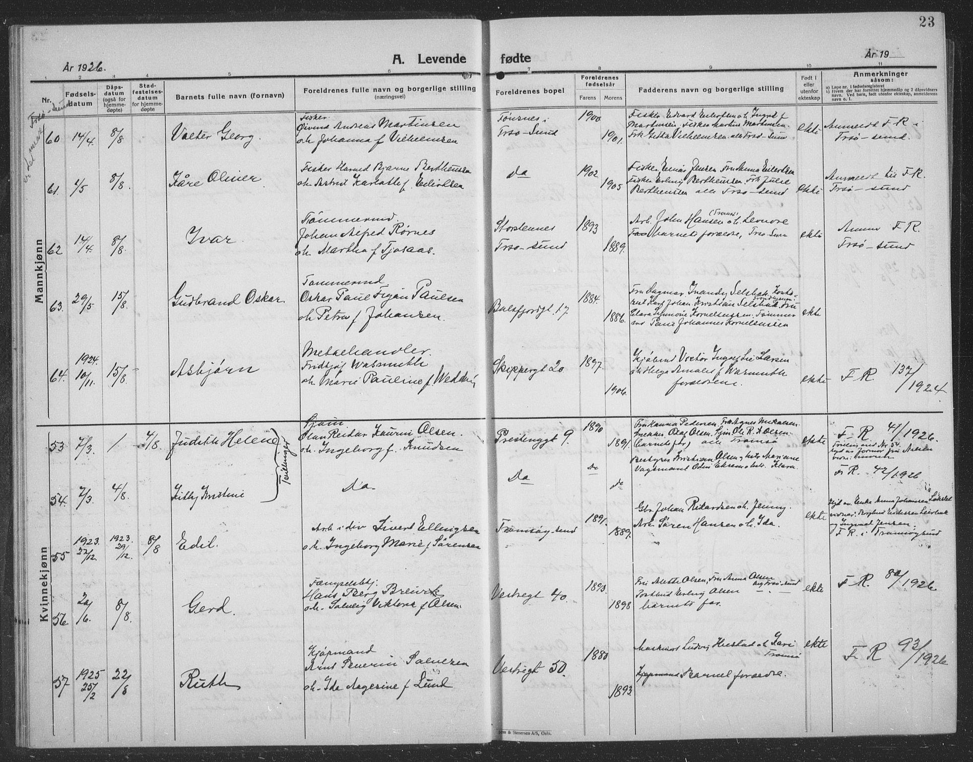 SATØ, Tromsø sokneprestkontor/stiftsprosti/domprosti, G/Gb/L0010klokker: Parish register (copy) no. 10, 1925-1937, p. 23