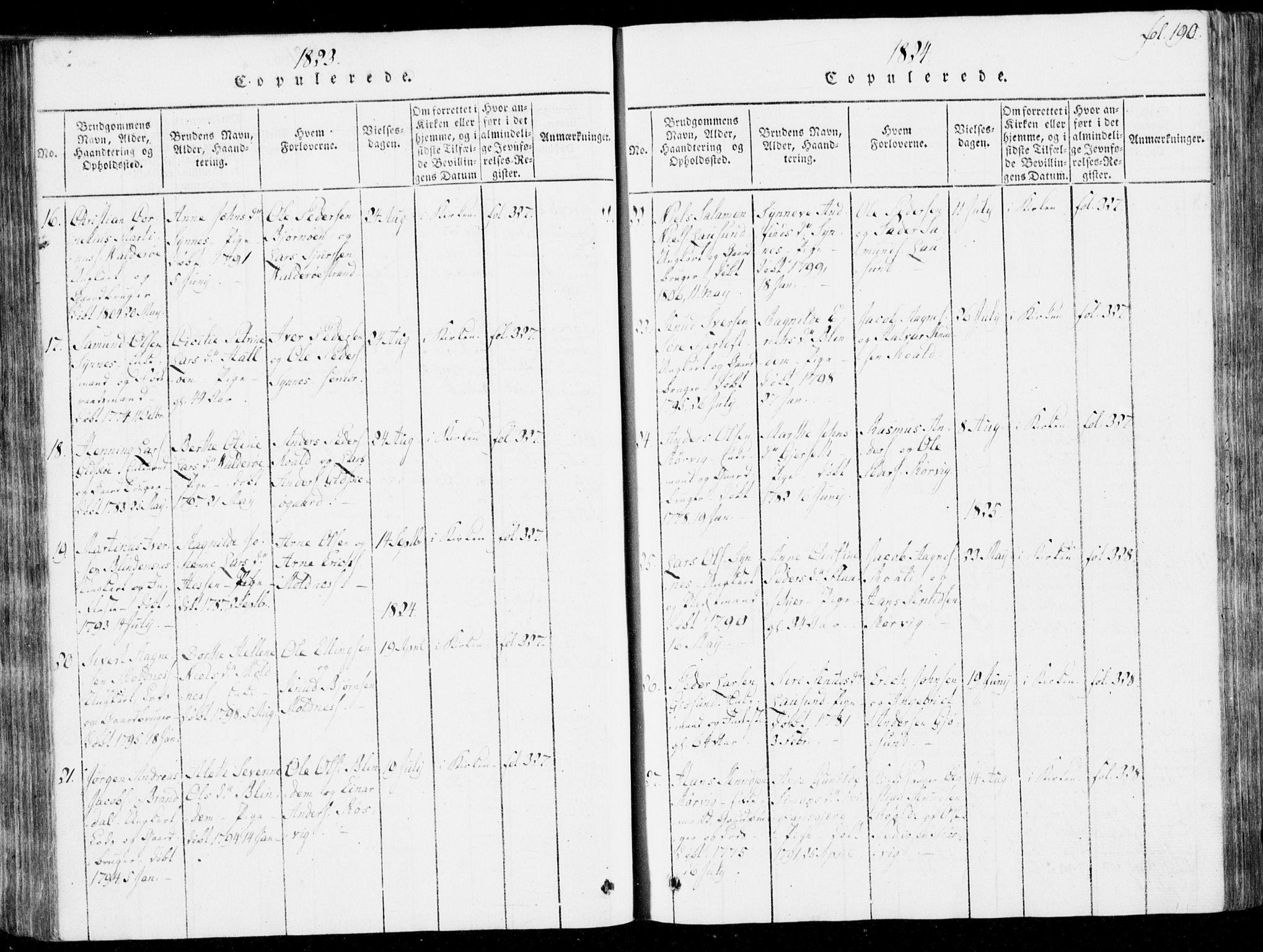 SAT, Ministerialprotokoller, klokkerbøker og fødselsregistre - Møre og Romsdal, 537/L0517: Parish register (official) no. 537A01, 1818-1862, p. 190
