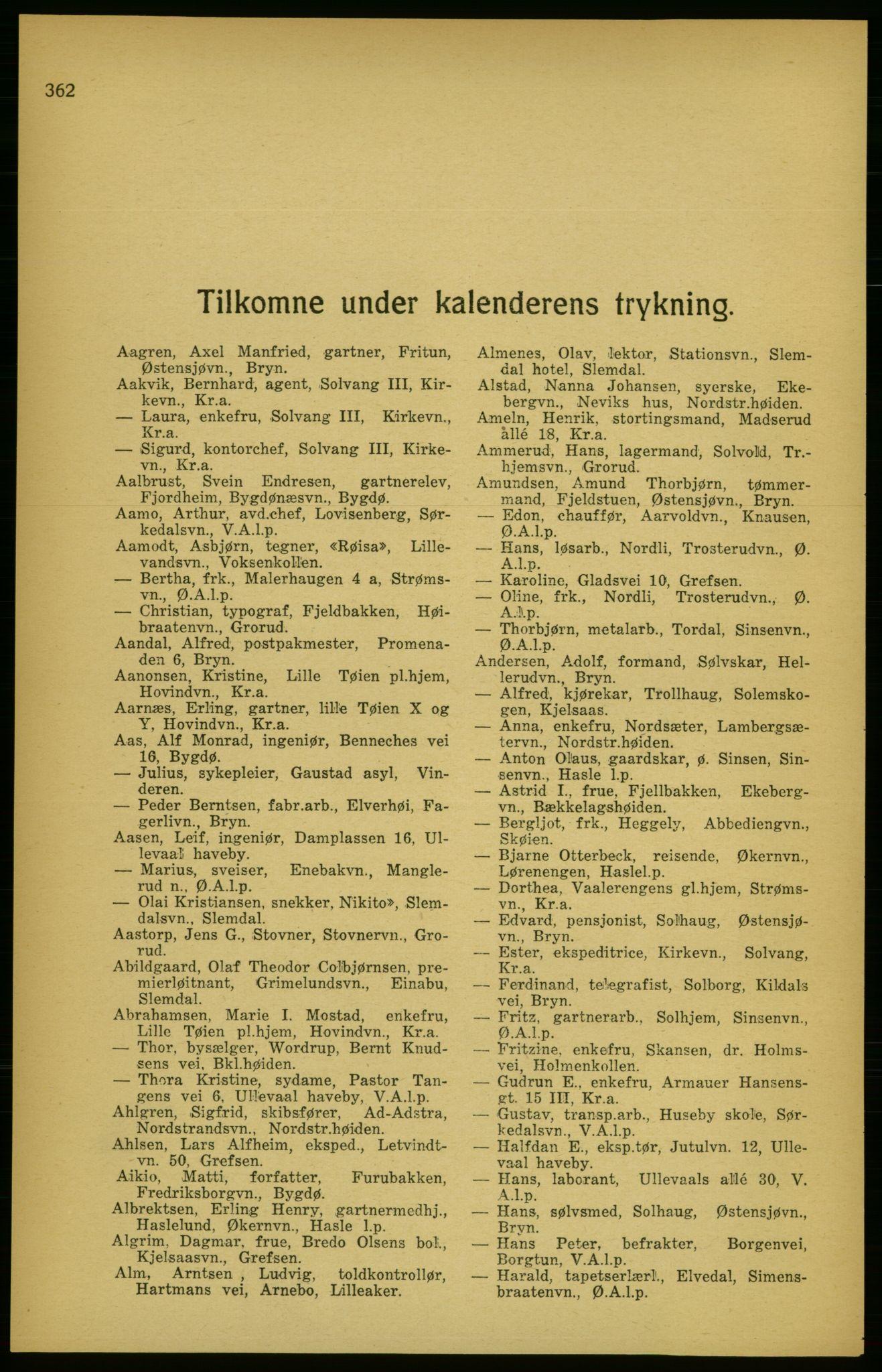 RA, Aker adressebok/adressekalender (publikasjon)*, 1924-1925, p. 362