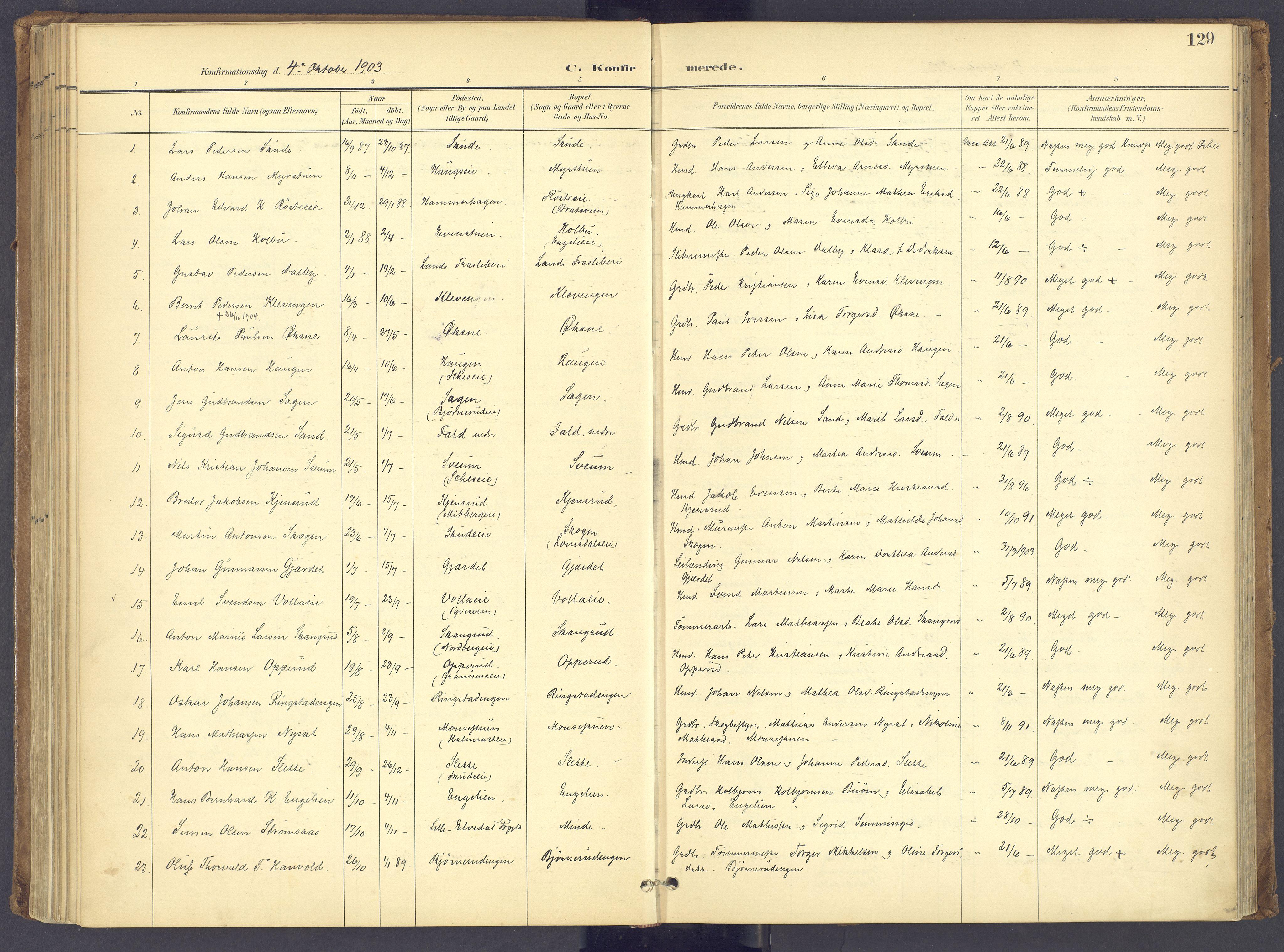 SAH, Søndre Land prestekontor, K/L0006: Parish register (official) no. 6, 1895-1904, p. 129