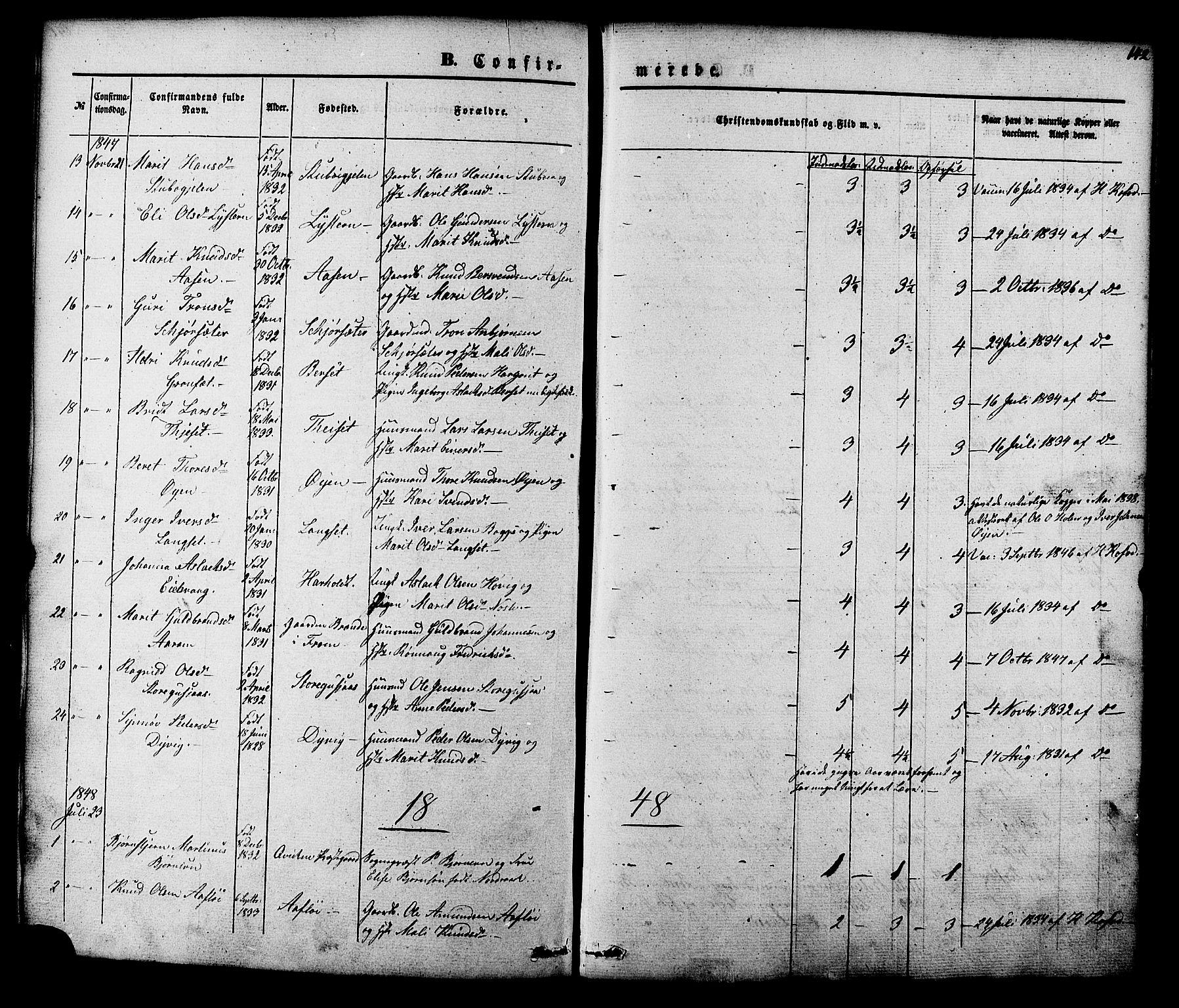SAT, Ministerialprotokoller, klokkerbøker og fødselsregistre - Møre og Romsdal, 551/L0625: Parish register (official) no. 551A05, 1846-1879, p. 142