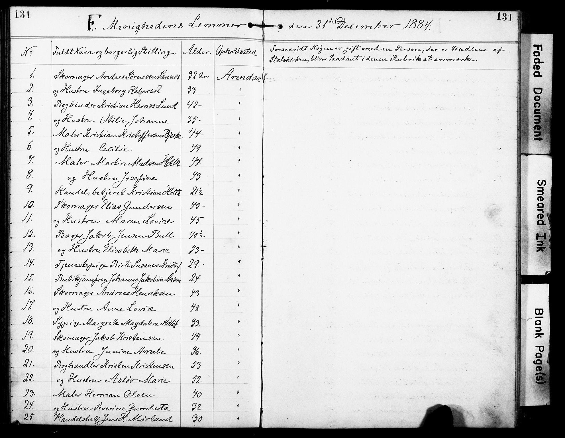 SAK, Den evangelisk-lutherske frimenighet, Arendal, F/Fa/L0002: Dissenter register no. F 6, 1884-1908, p. 131