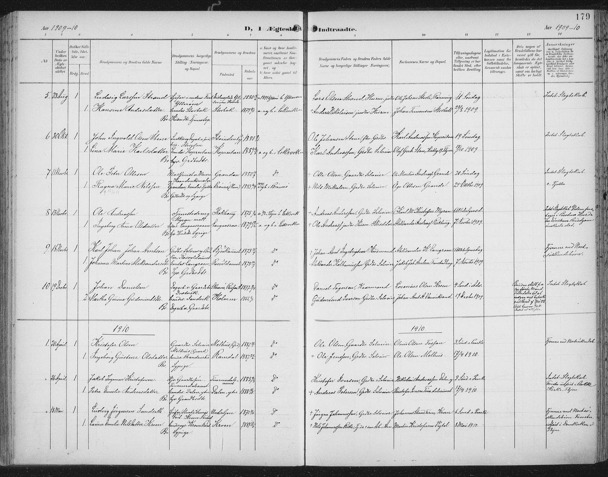 SAT, Ministerialprotokoller, klokkerbøker og fødselsregistre - Nord-Trøndelag, 701/L0011: Parish register (official) no. 701A11, 1899-1915, p. 179