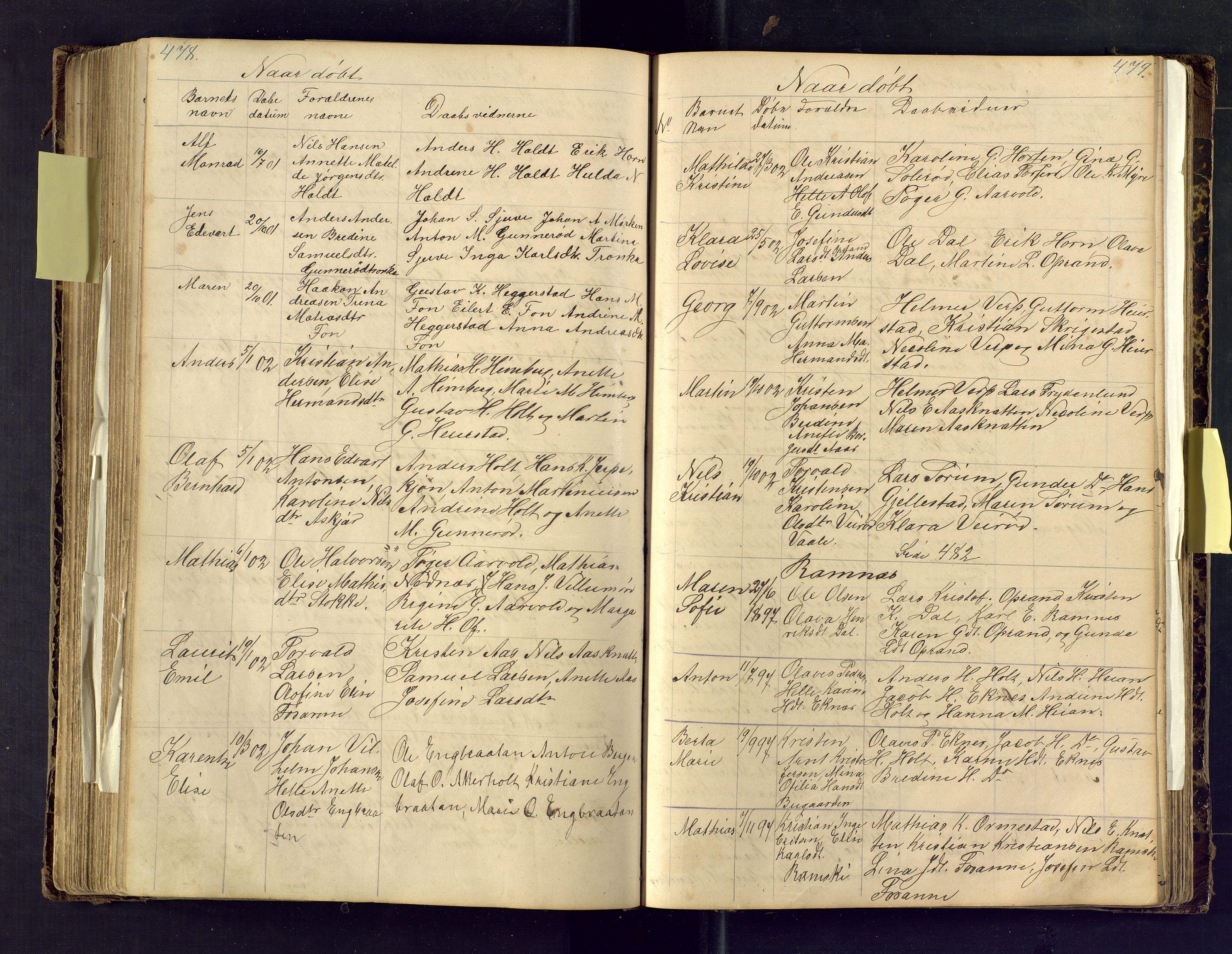SAKO, Den evangelisk lutherske frimenighet i Jarlsbergs grevskap med flere steder, F/Fa/L0001: Dissenter register no. Fa/L0001, 1872-1925, p. 478-479