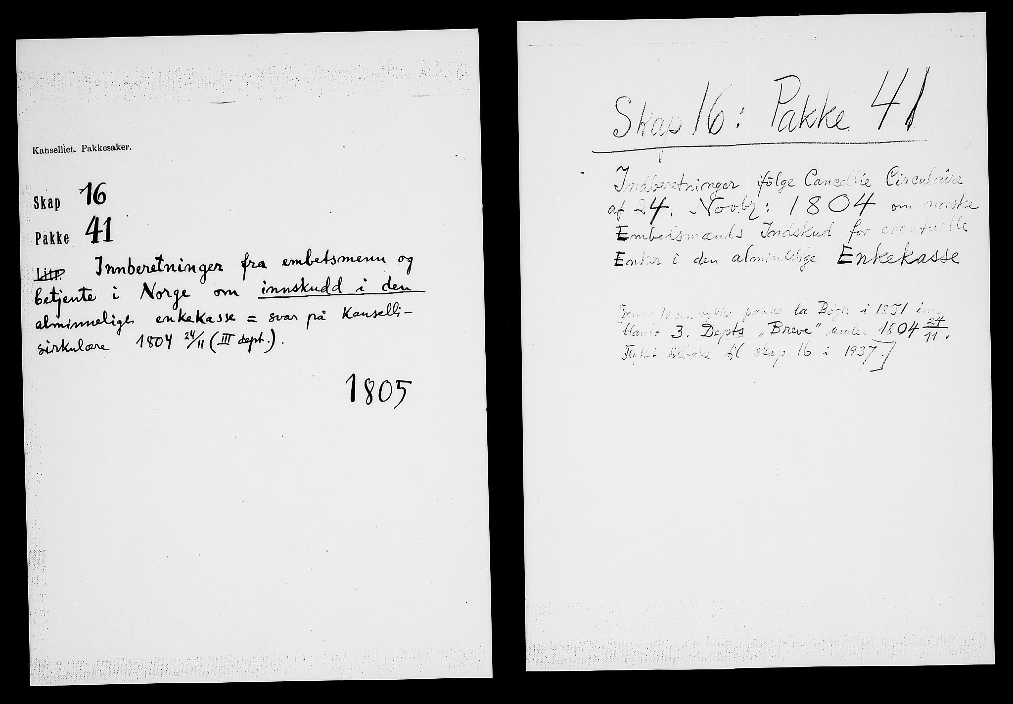 RA, Danske Kanselli, Skapsaker, F/L0115: Skap 16, pakke 41, 1805, p. 2