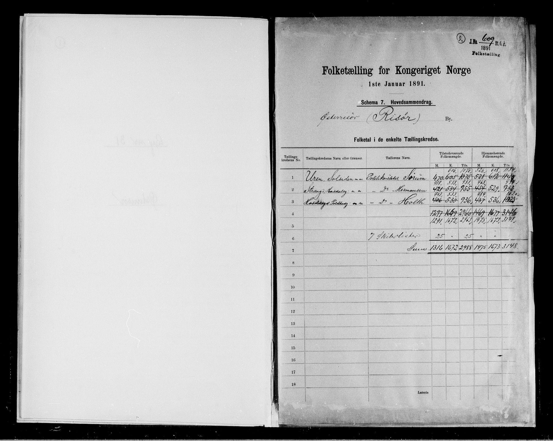 RA, 1891 census for 0901 Risør, 1891, p. 2