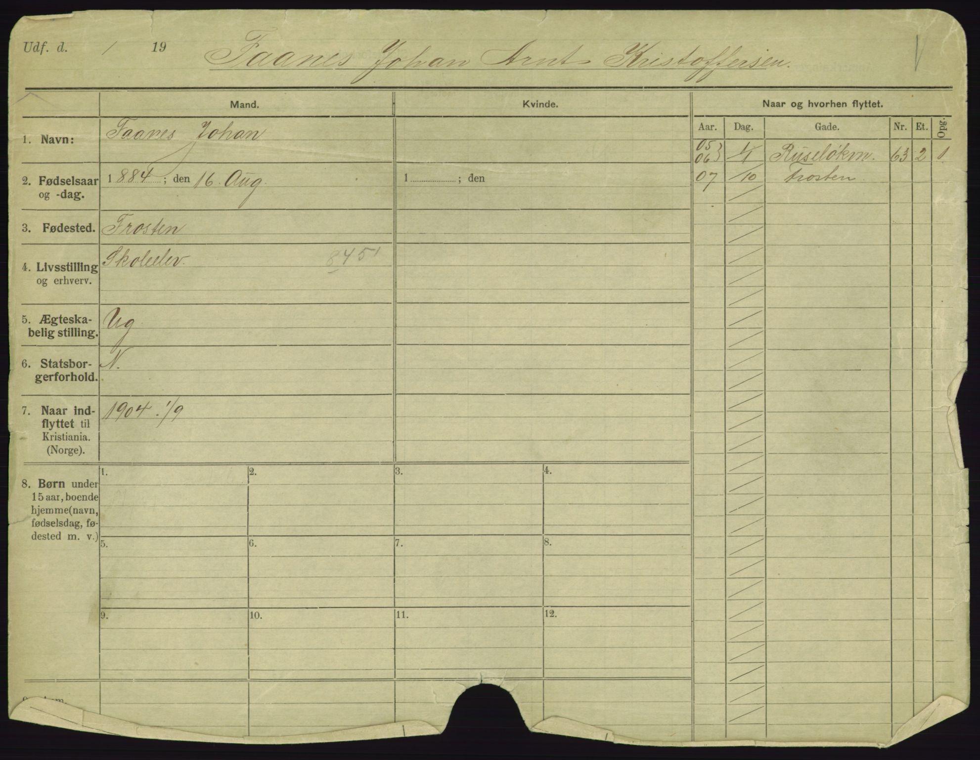 SAO, Oslo folkeregister, Registerkort, F/Fa/Fac/L0003: Menn, 1906-1914, p. 1a