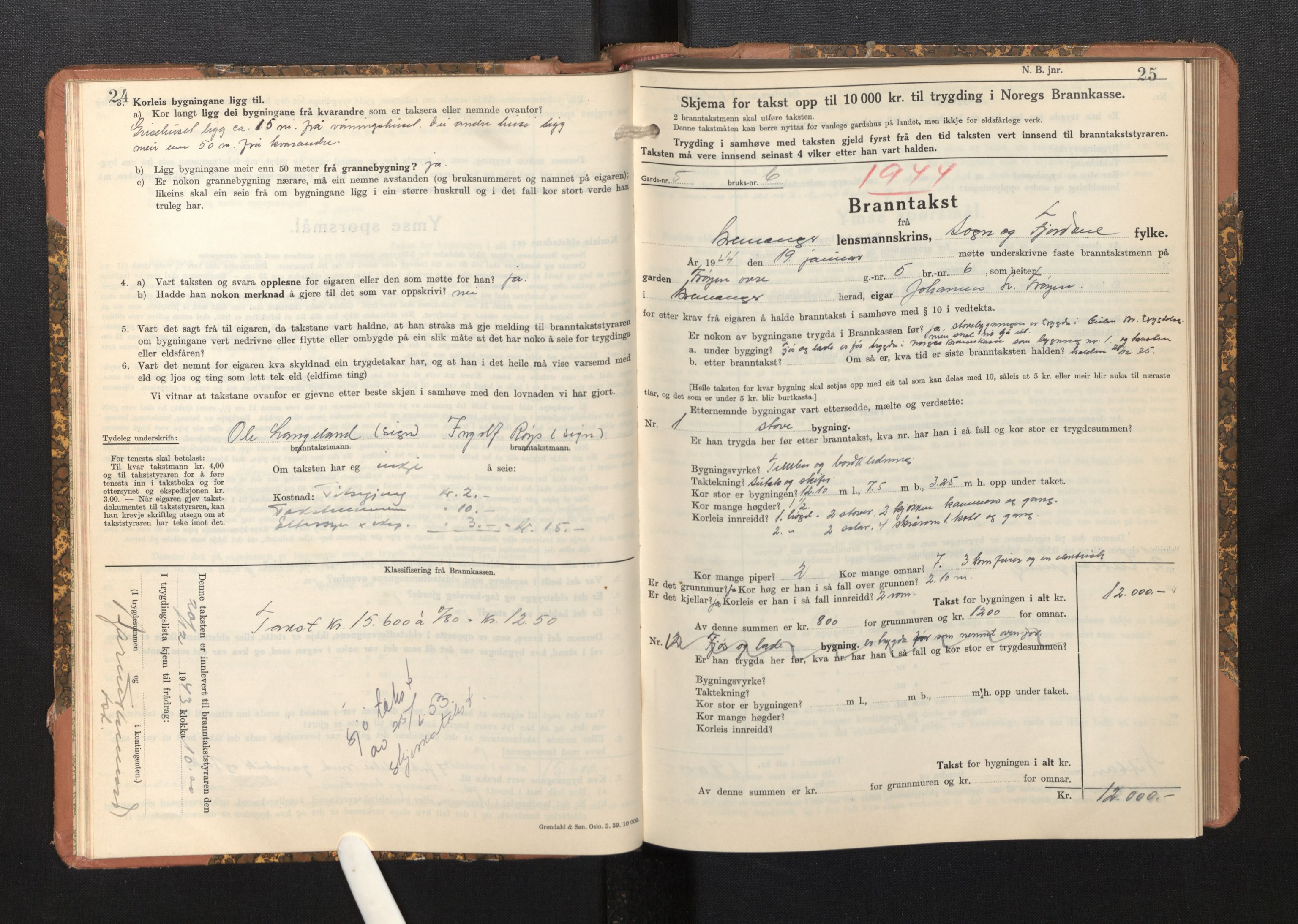 SAB, Lensmannen i Bremanger, 0012/L0009: Branntakstprotokoll, skjematakst, 1943-1950, p. 24-25