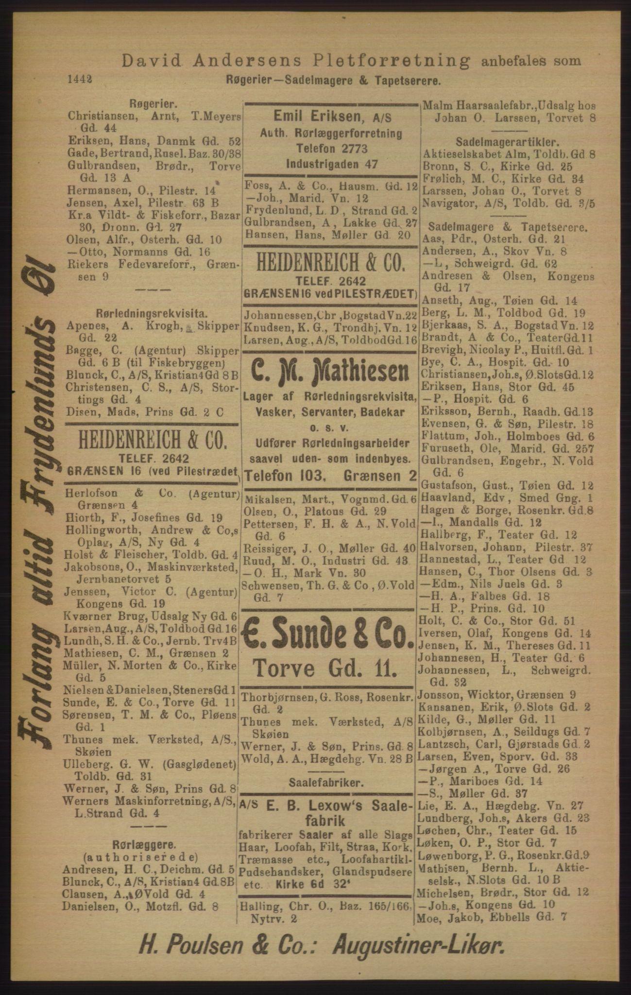 PUBL, Kristiania/Oslo adressebok, 1906, p. 1442
