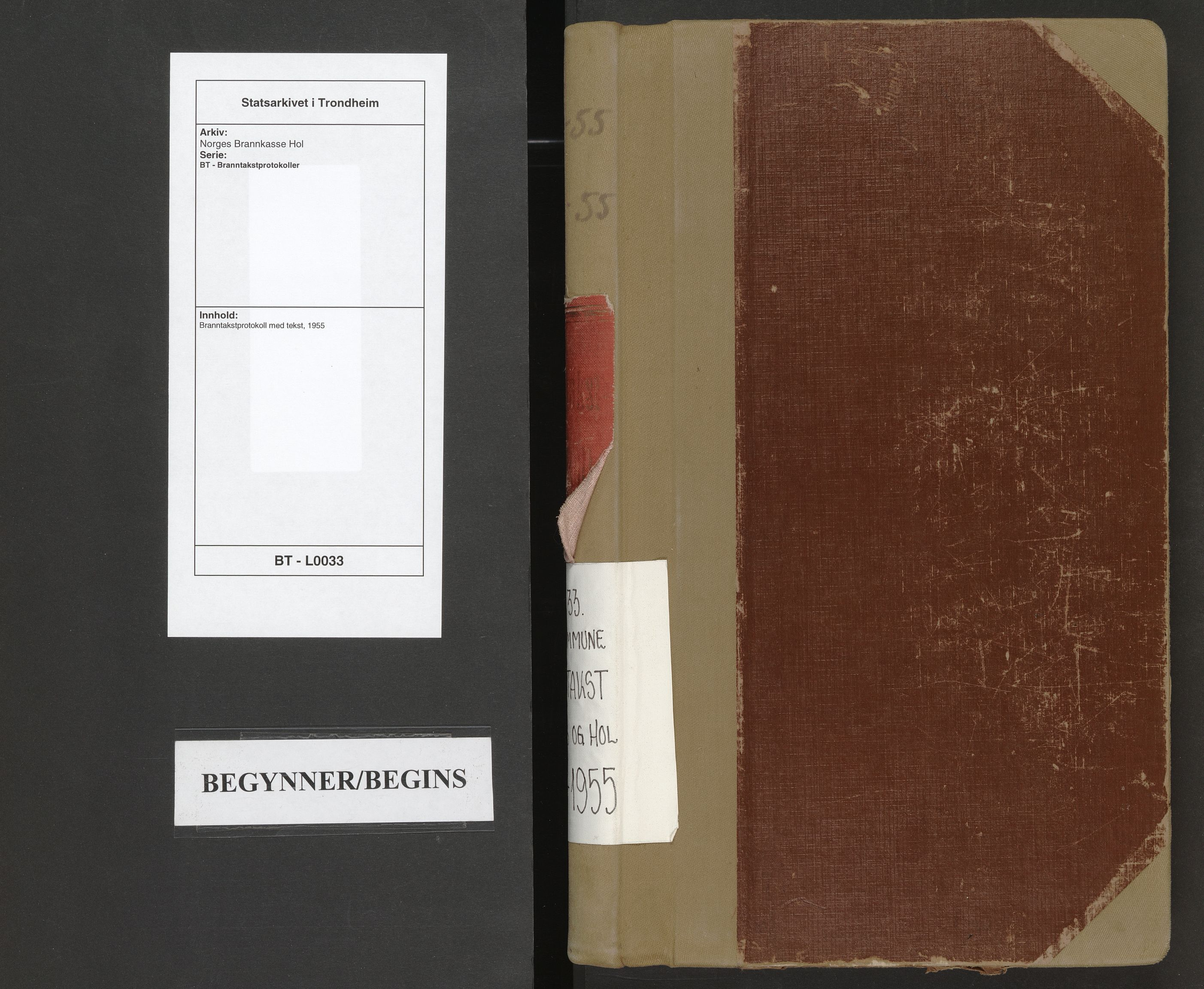 SAT, Norges Brannkasse Hol, BT/L0033: Branntakstprotokoll med tekst, 1955