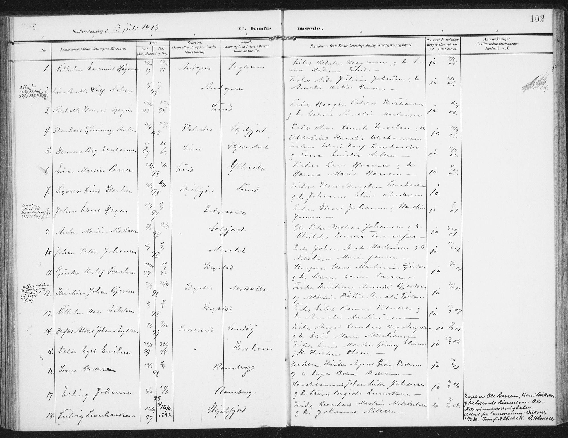 SAT, Ministerialprotokoller, klokkerbøker og fødselsregistre - Nordland, 885/L1206: Parish register (official) no. 885A07, 1905-1915, p. 102