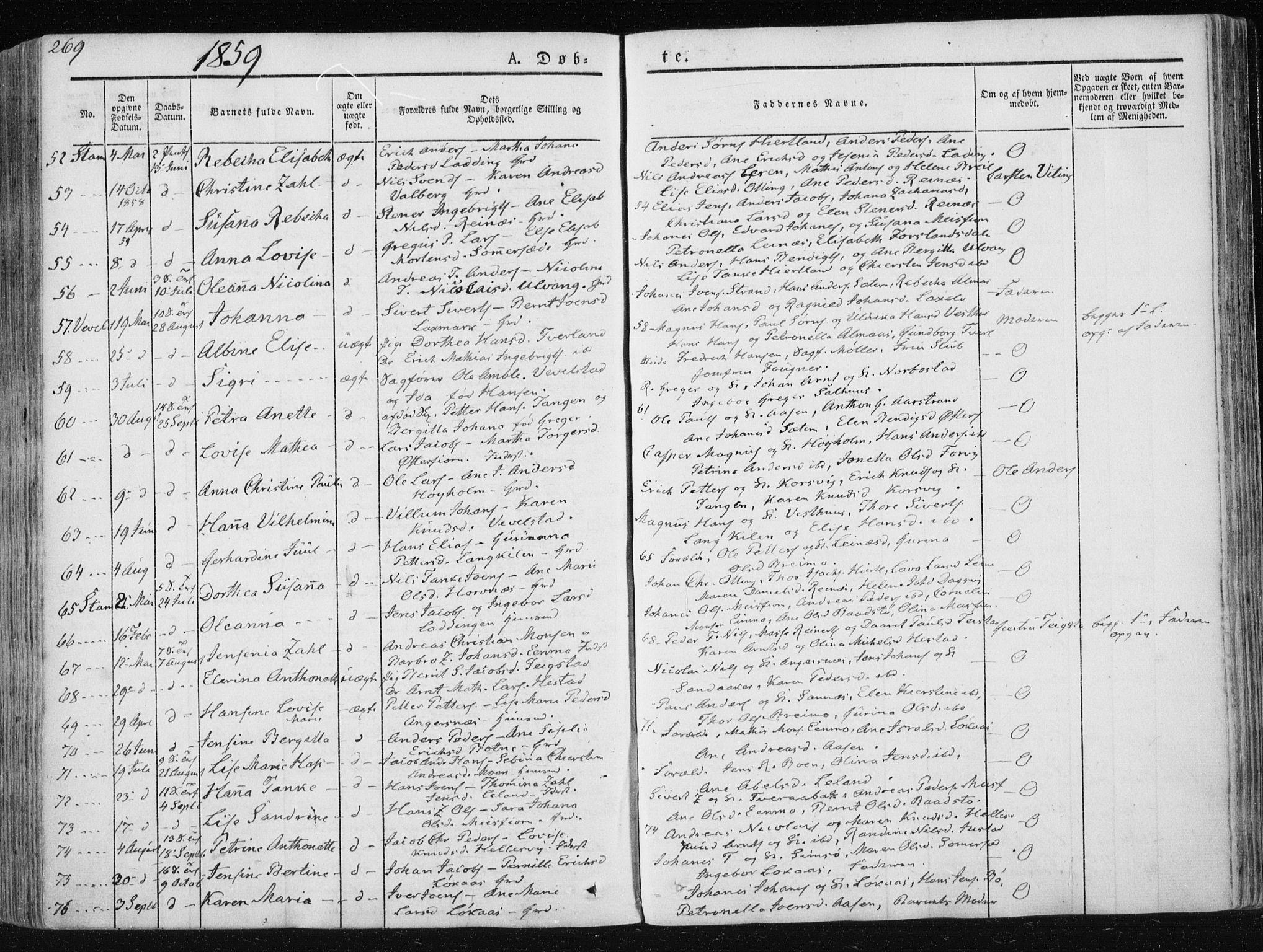 SAT, Ministerialprotokoller, klokkerbøker og fødselsregistre - Nordland, 830/L0446: Parish register (official) no. 830A10, 1831-1865, p. 269