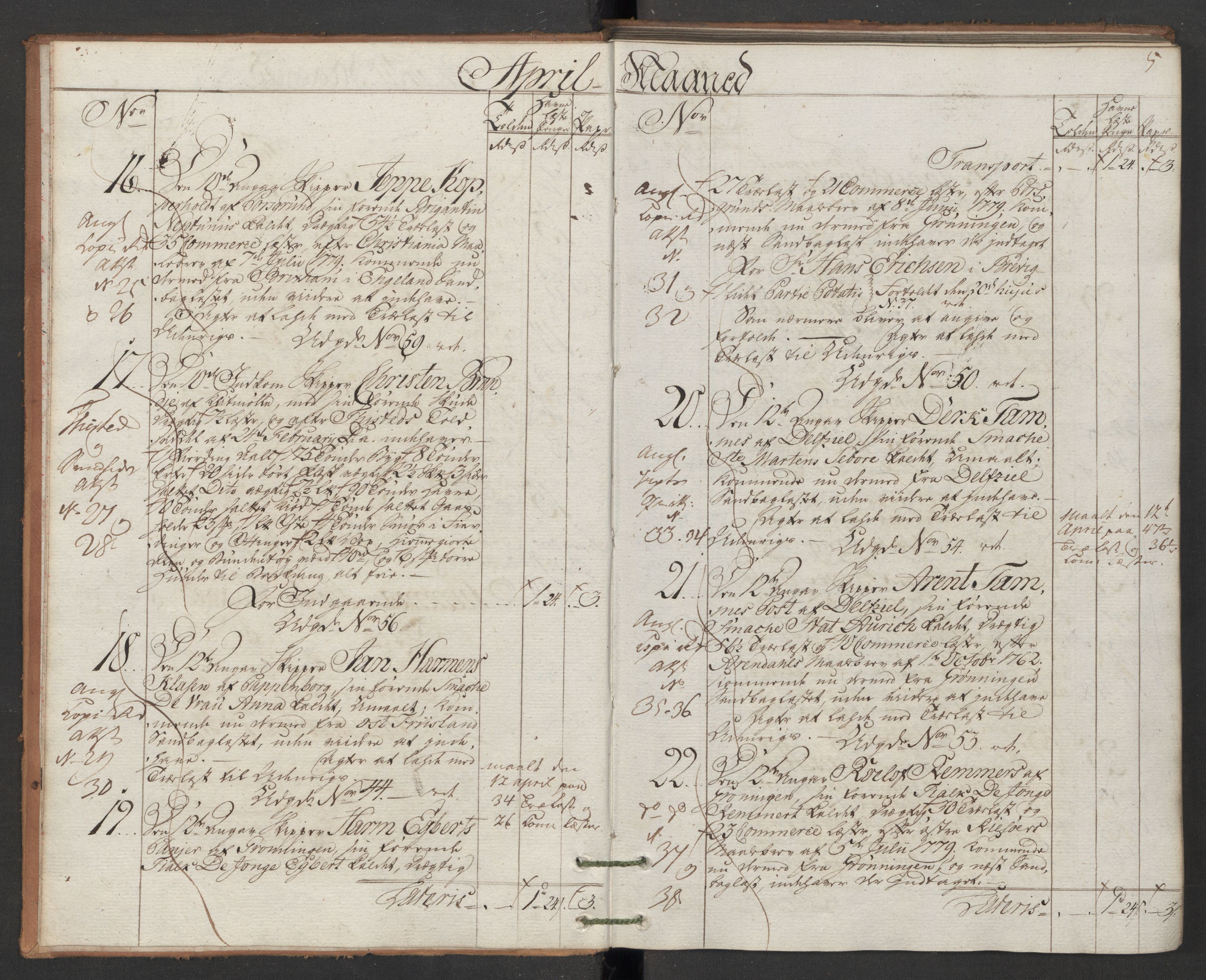 RA, Generaltollkammeret, tollregnskaper, R12/L0118: Tollregnskaper Langesund, 1786, p. 4b-5a