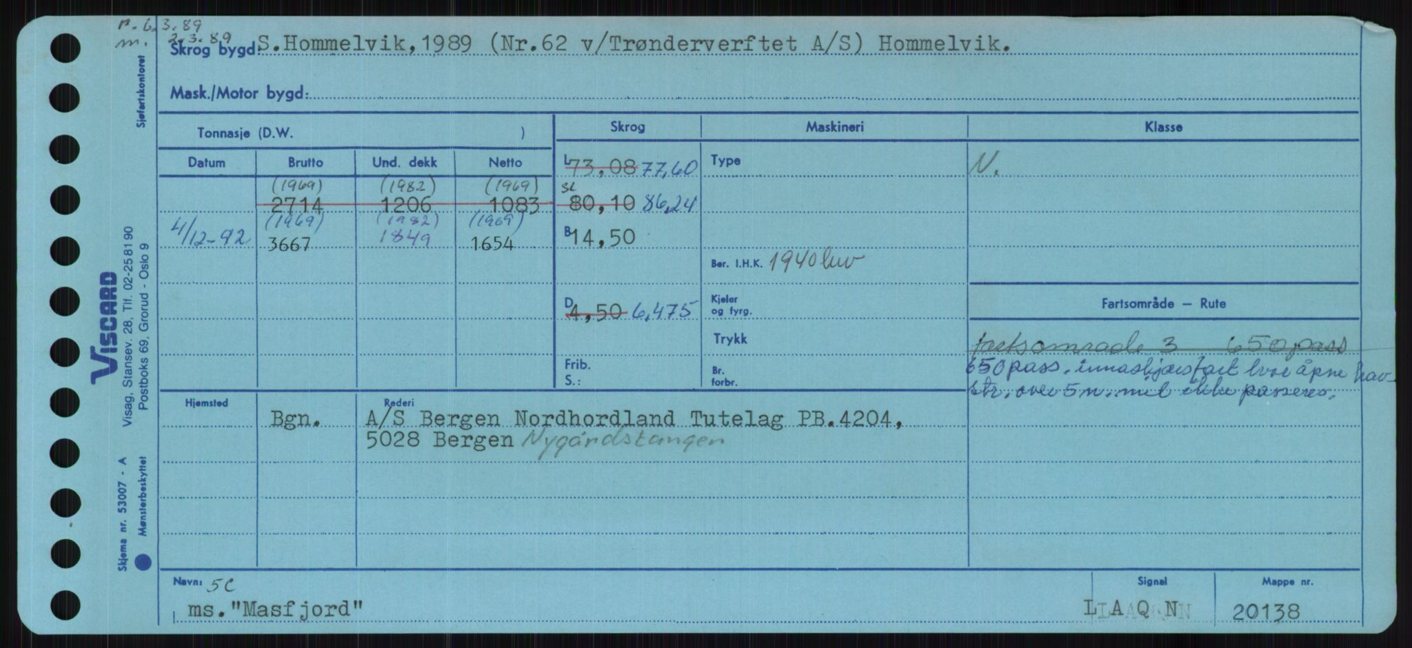 RA, Sjøfartsdirektoratet med forløpere, Skipsmålingen, H/Ha/L0004: Fartøy, p. 1