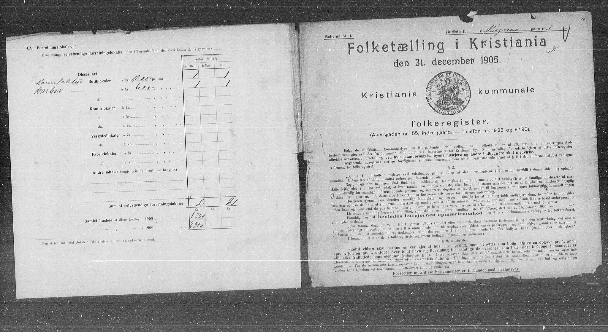 OBA, Municipal Census 1905 for Kristiania, 1905, p. 31092