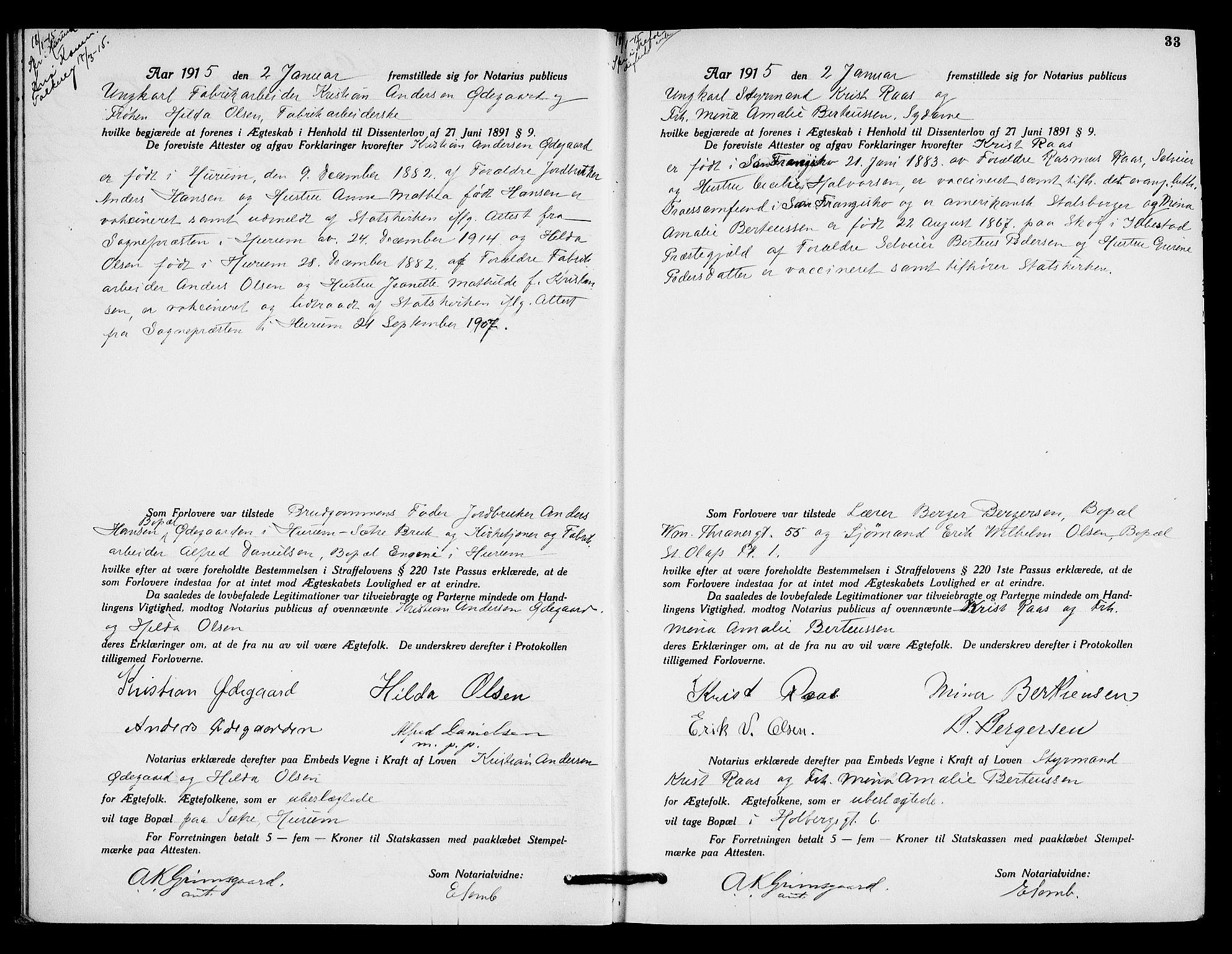 SAO, Oslo byfogd avd. I, L/Lb/Lbb/L0010: Notarialprotokoll, rekke II: Vigsler, 1914-1916, p. 32b-33a