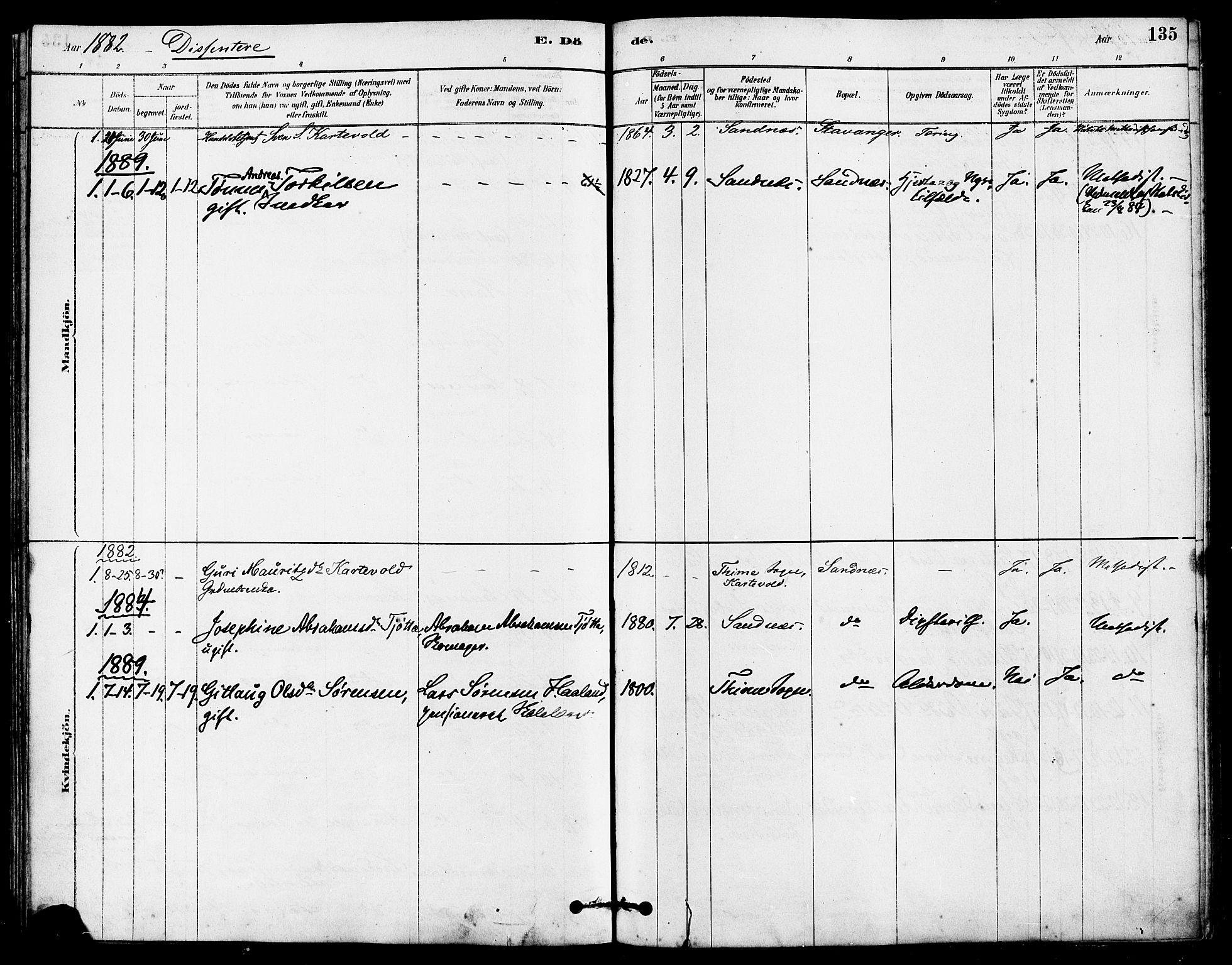SAST, Høyland sokneprestkontor, 30BA/L0012: Parish register (official) no. A 11, 1878-1889, p. 135