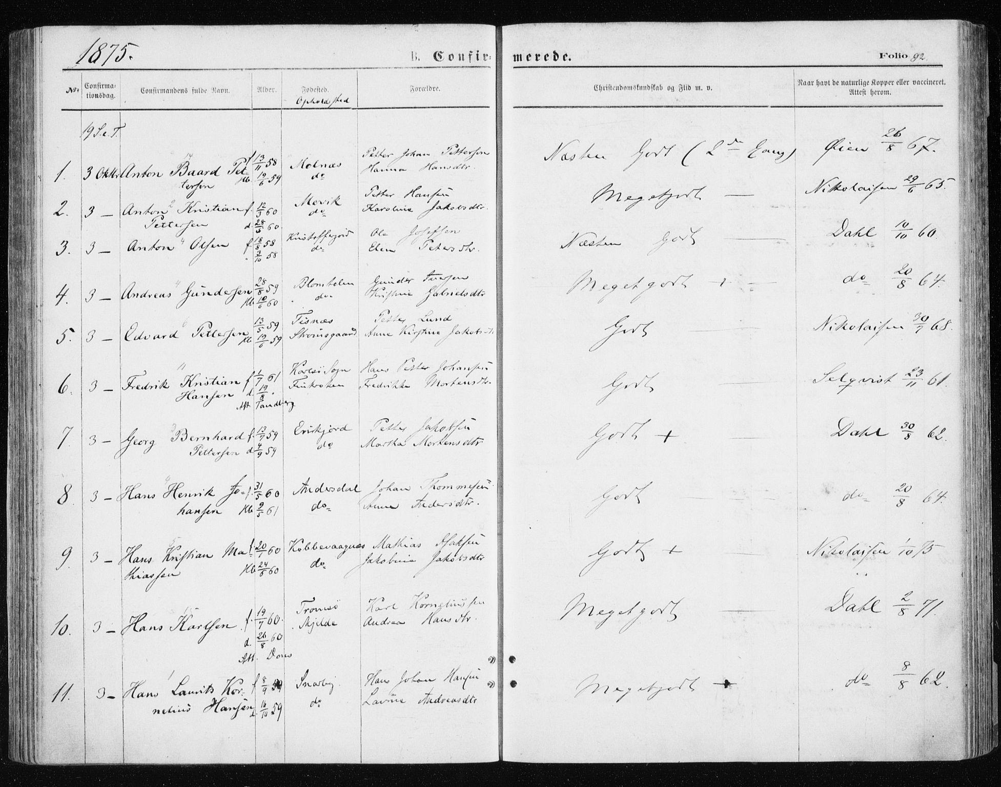 SATØ, Tromsøysund sokneprestkontor, G/Ga/L0003kirke: Parish register (official) no. 3, 1875-1880, p. 92