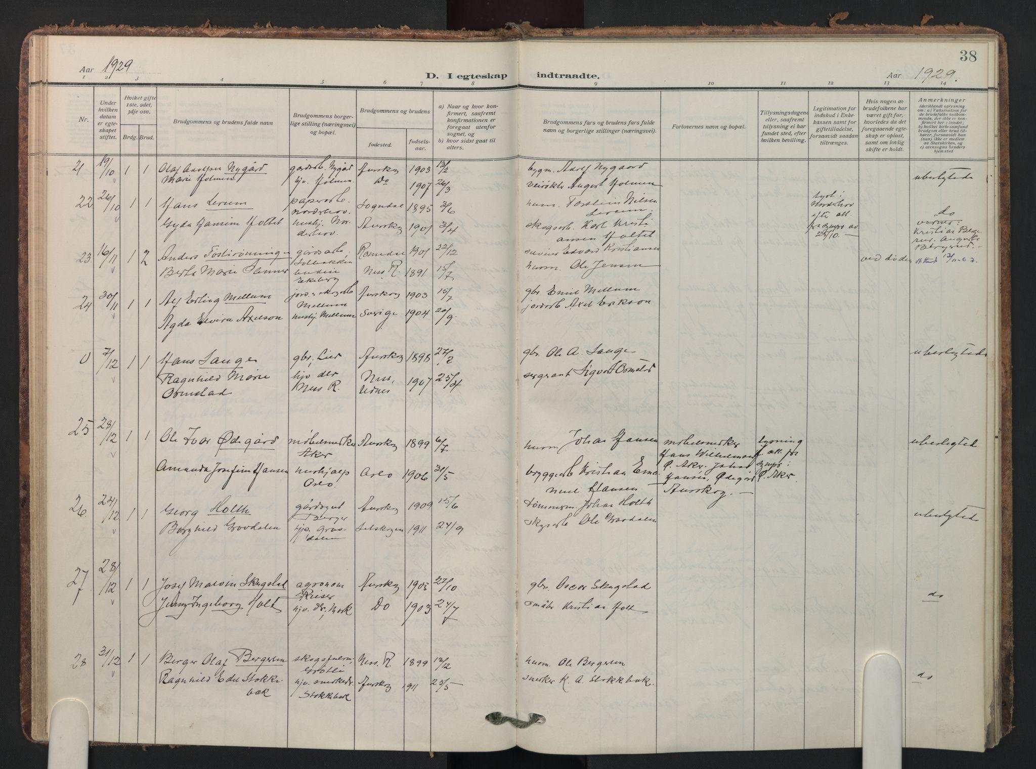 SAO, Aurskog prestekontor Kirkebøker, F/Fa/L0016: Parish register (official) no. I 16, 1910-1934, p. 38