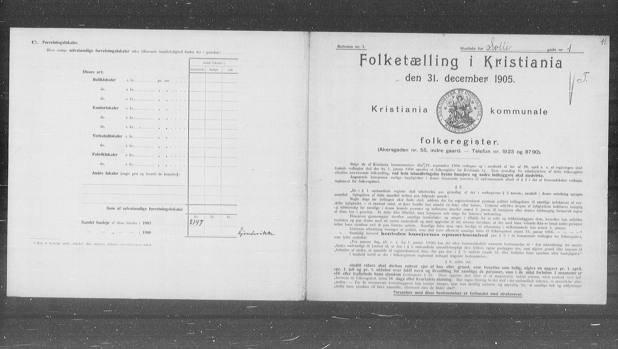 OBA, Municipal Census 1905 for Kristiania, 1905, p. 51691