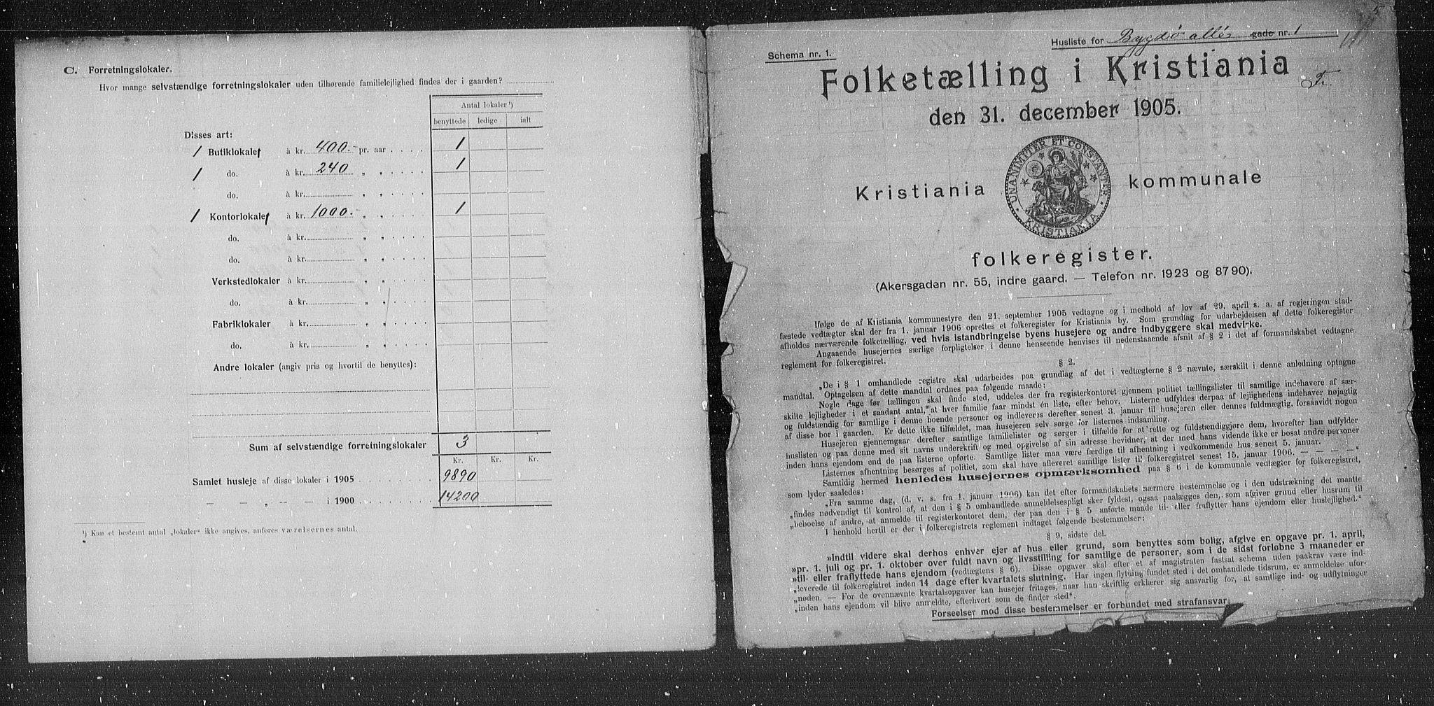 OBA, Municipal Census 1905 for Kristiania, 1905, p. 5297