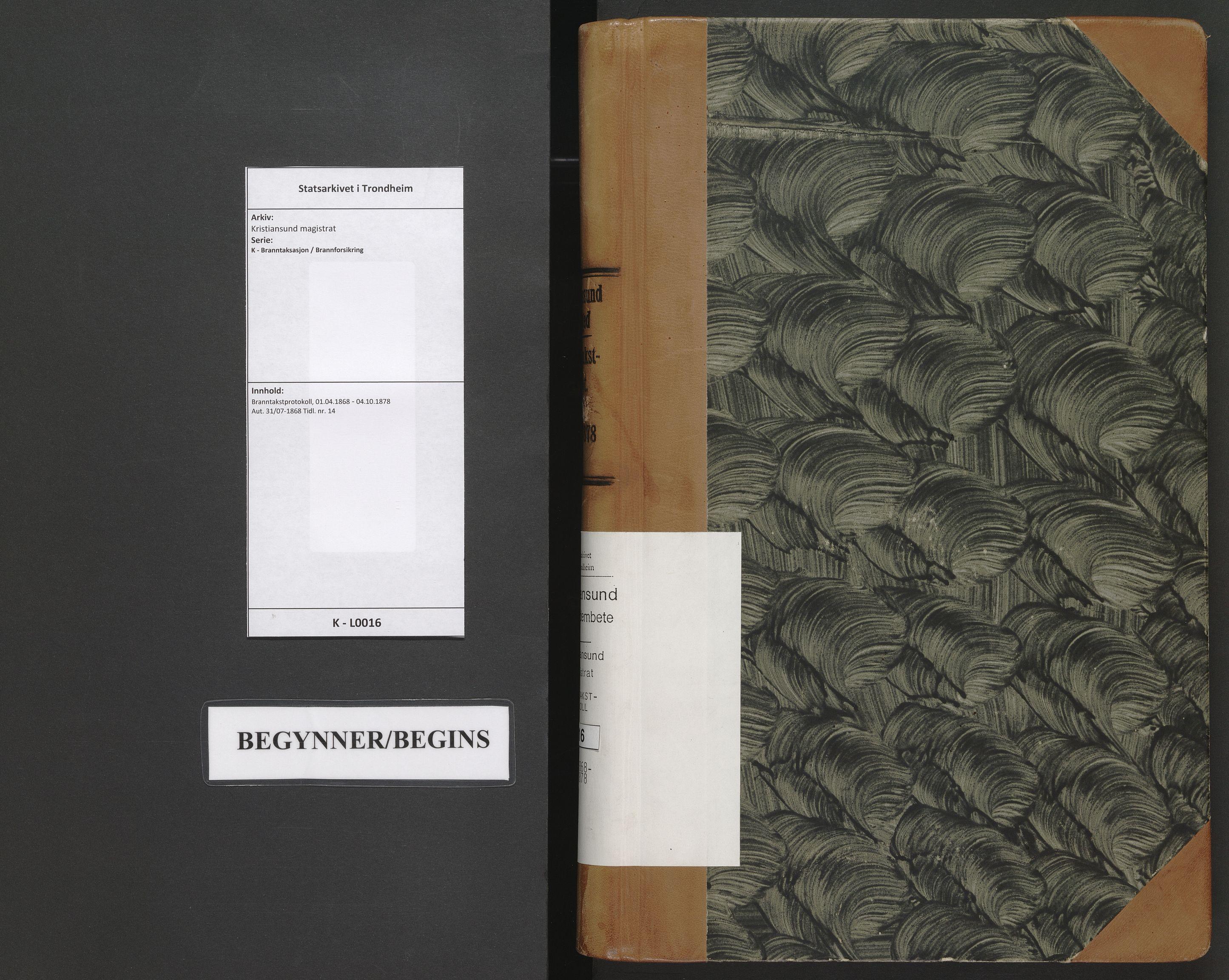 SAT, Kristiansund magistrat, K/L0016: Branntakstprotokoll, 1868-1878