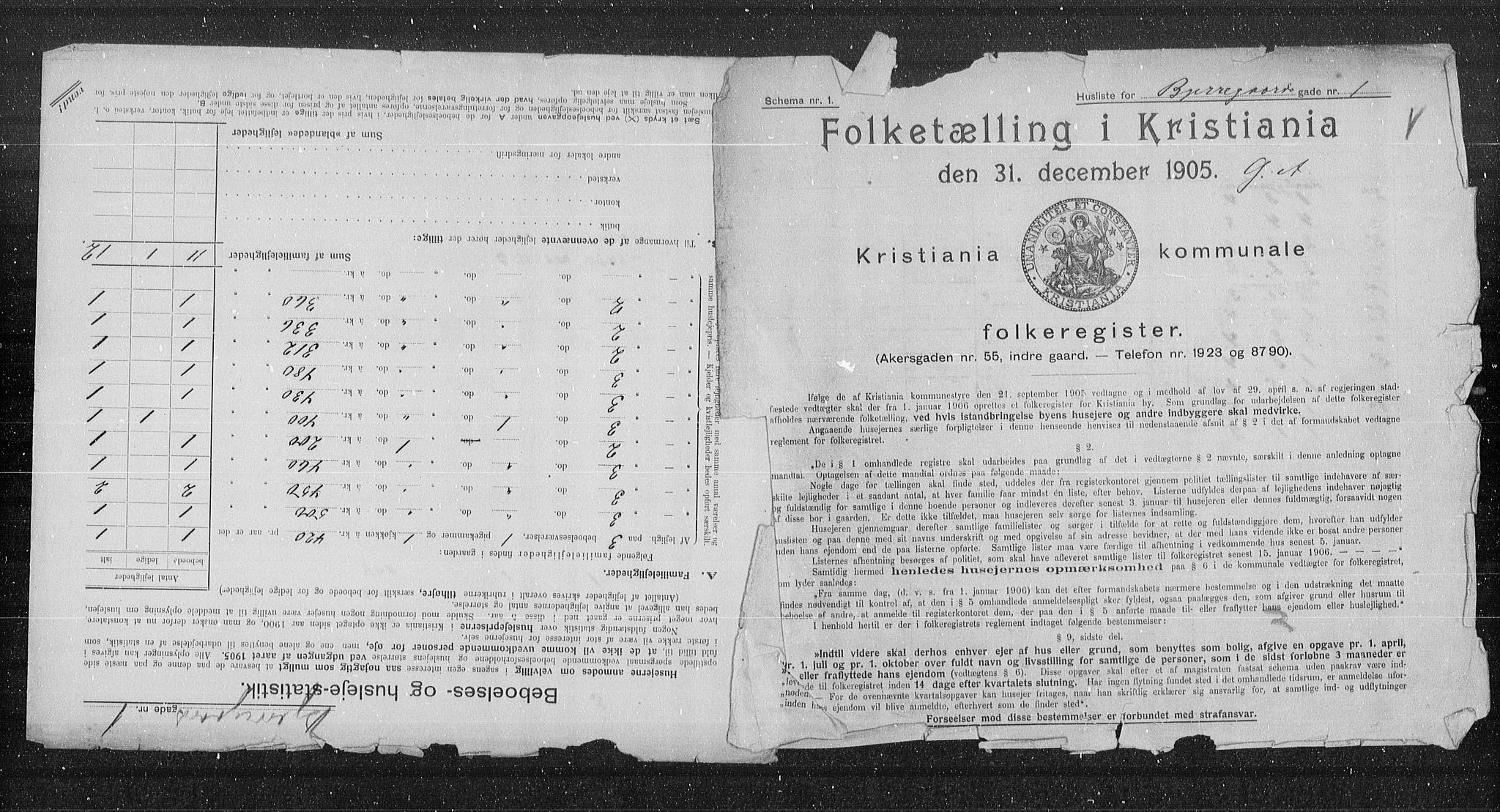 OBA, Municipal Census 1905 for Kristiania, 1905, p. 2760