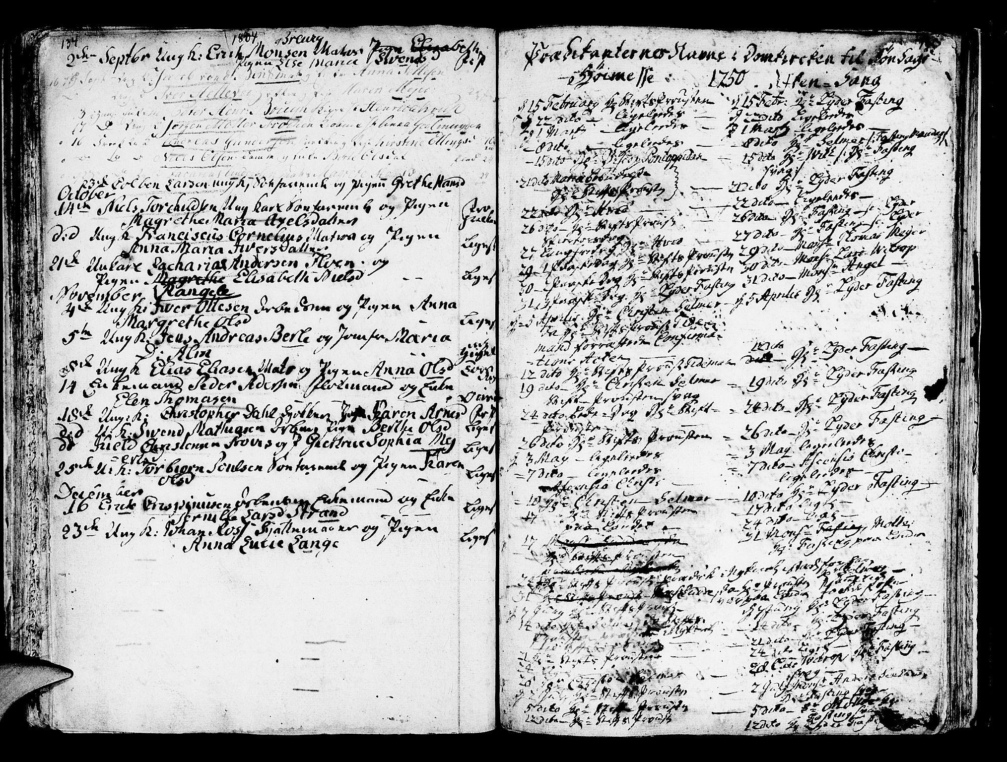 SAB, Domkirken sokneprestembete, H/Haa/L0007: Parish register (official) no. A 7, 1725-1826, p. 134-135