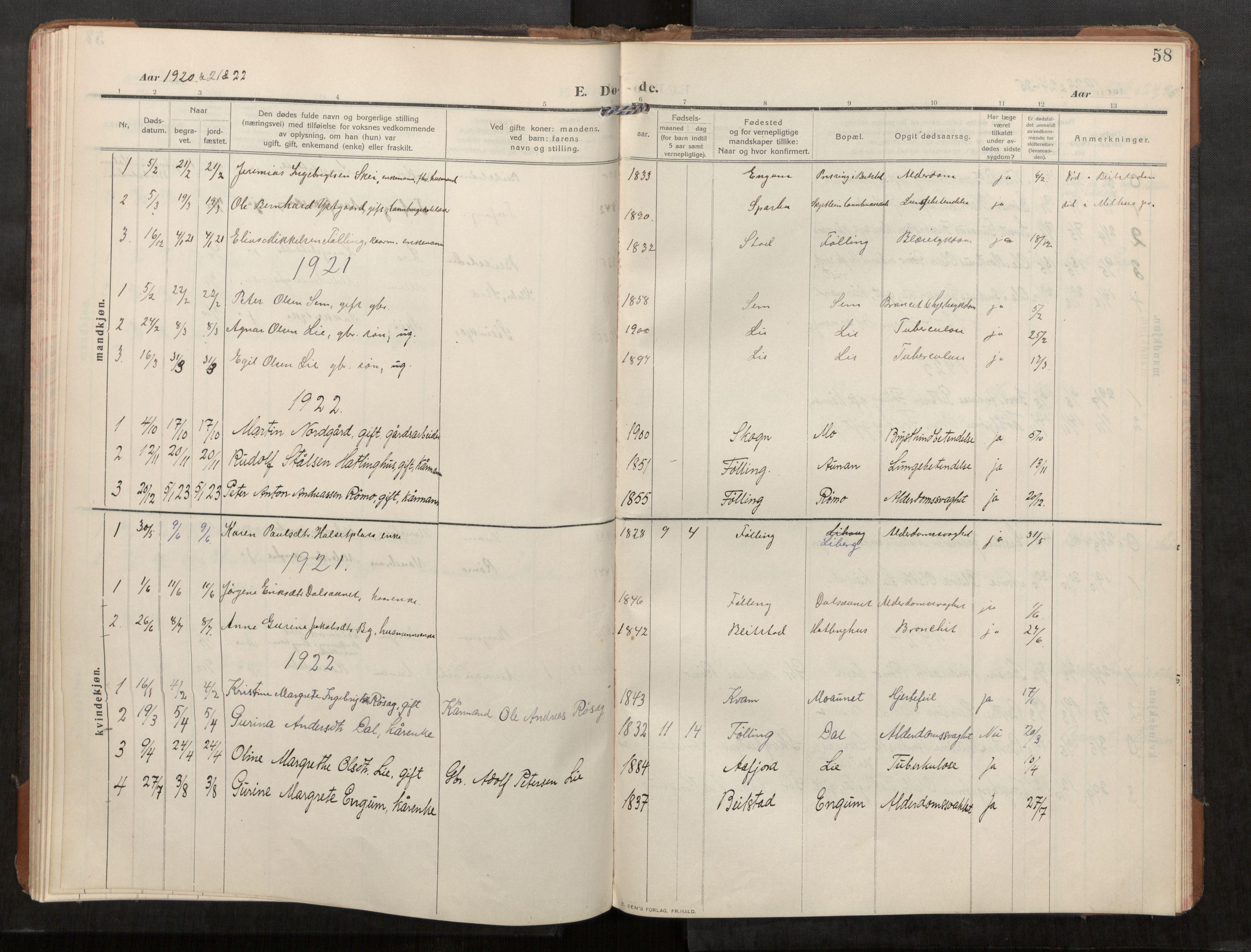 SAT, Stod sokneprestkontor, I/I1/I1a/L0003: Parish register (official) no. 3, 1909-1934, p. 58