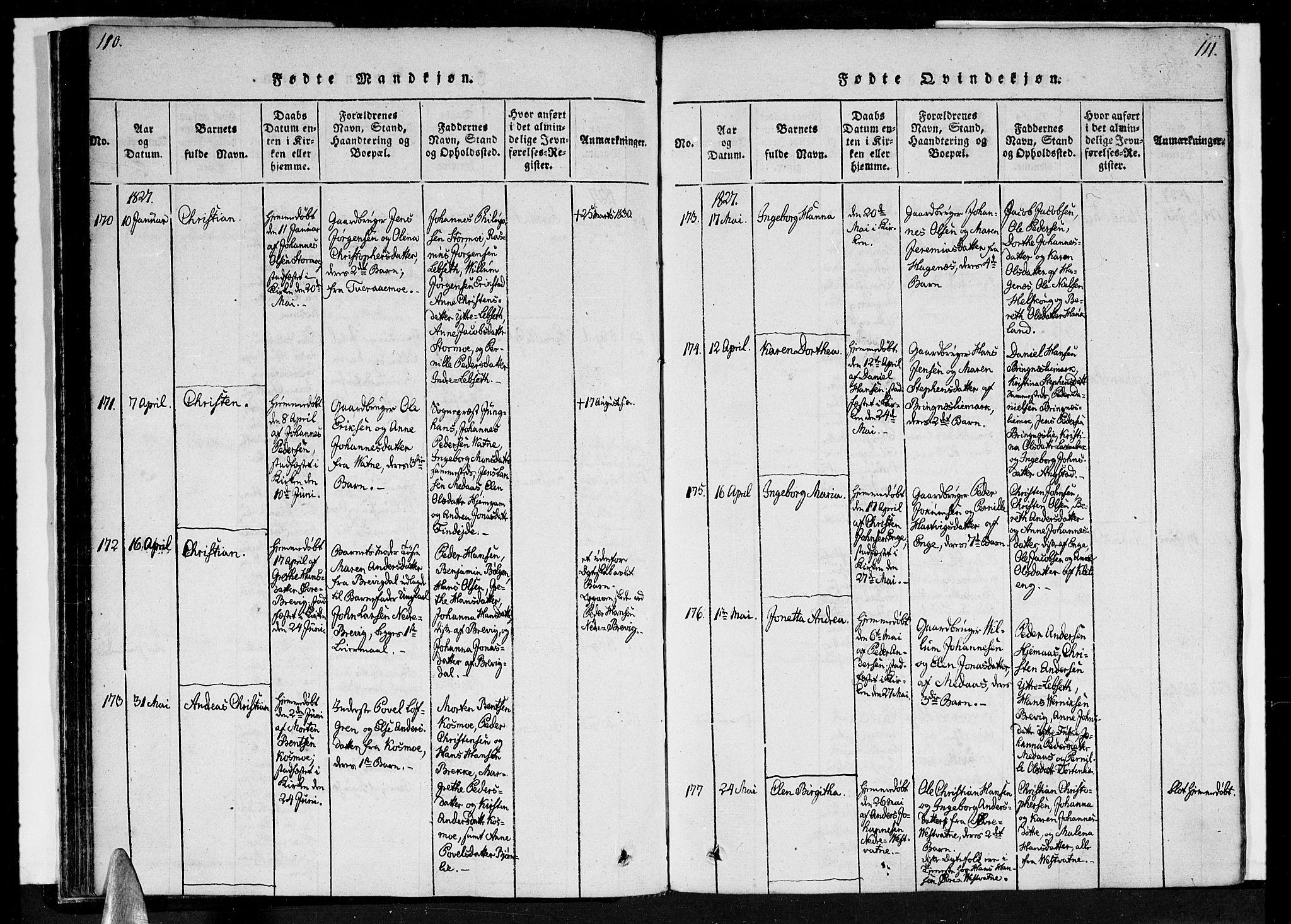 SAT, Ministerialprotokoller, klokkerbøker og fødselsregistre - Nordland, 852/L0736: Parish register (official) no. 852A06, 1820-1833, p. 110-111