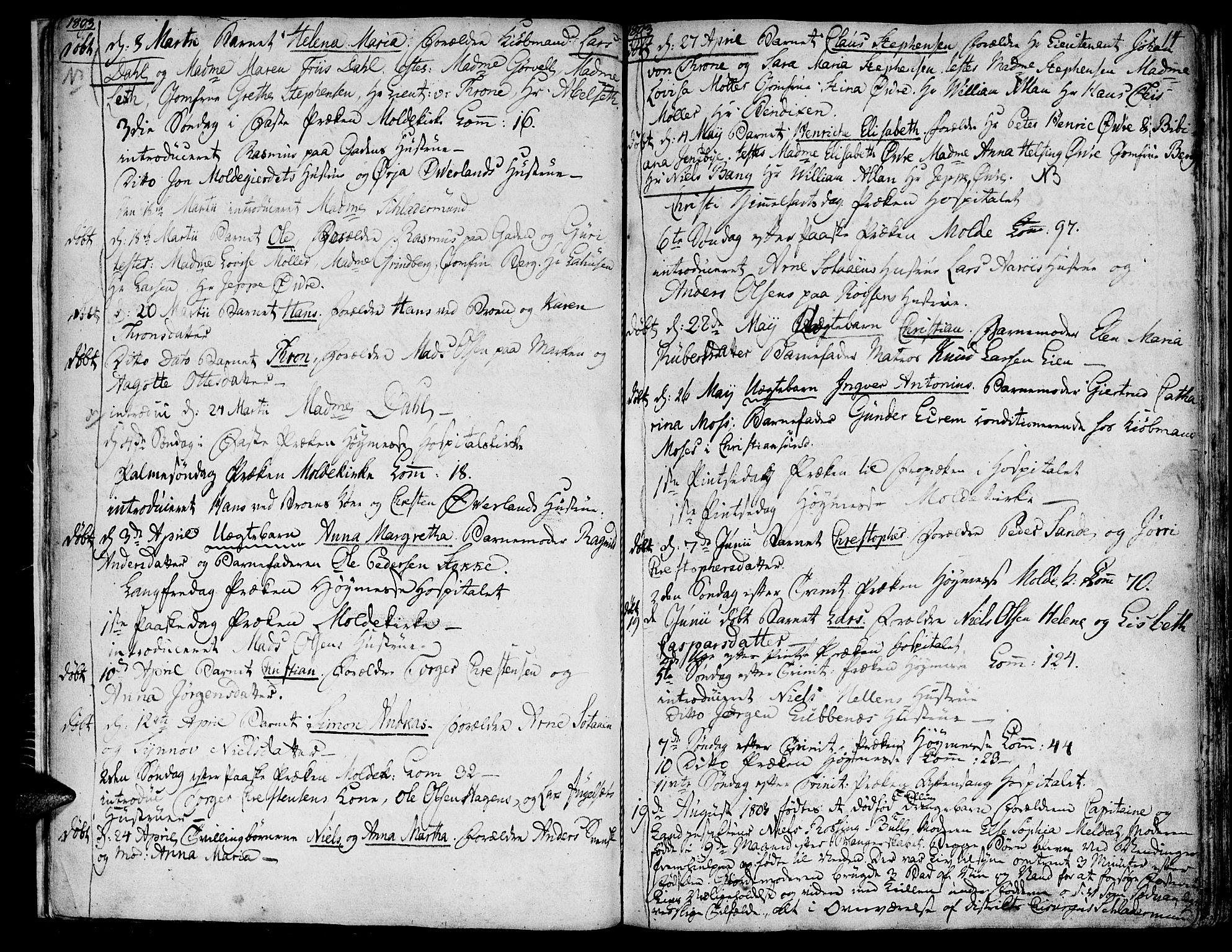 SAT, Ministerialprotokoller, klokkerbøker og fødselsregistre - Møre og Romsdal, 558/L0687: Parish register (official) no. 558A01, 1798-1818, p. 14