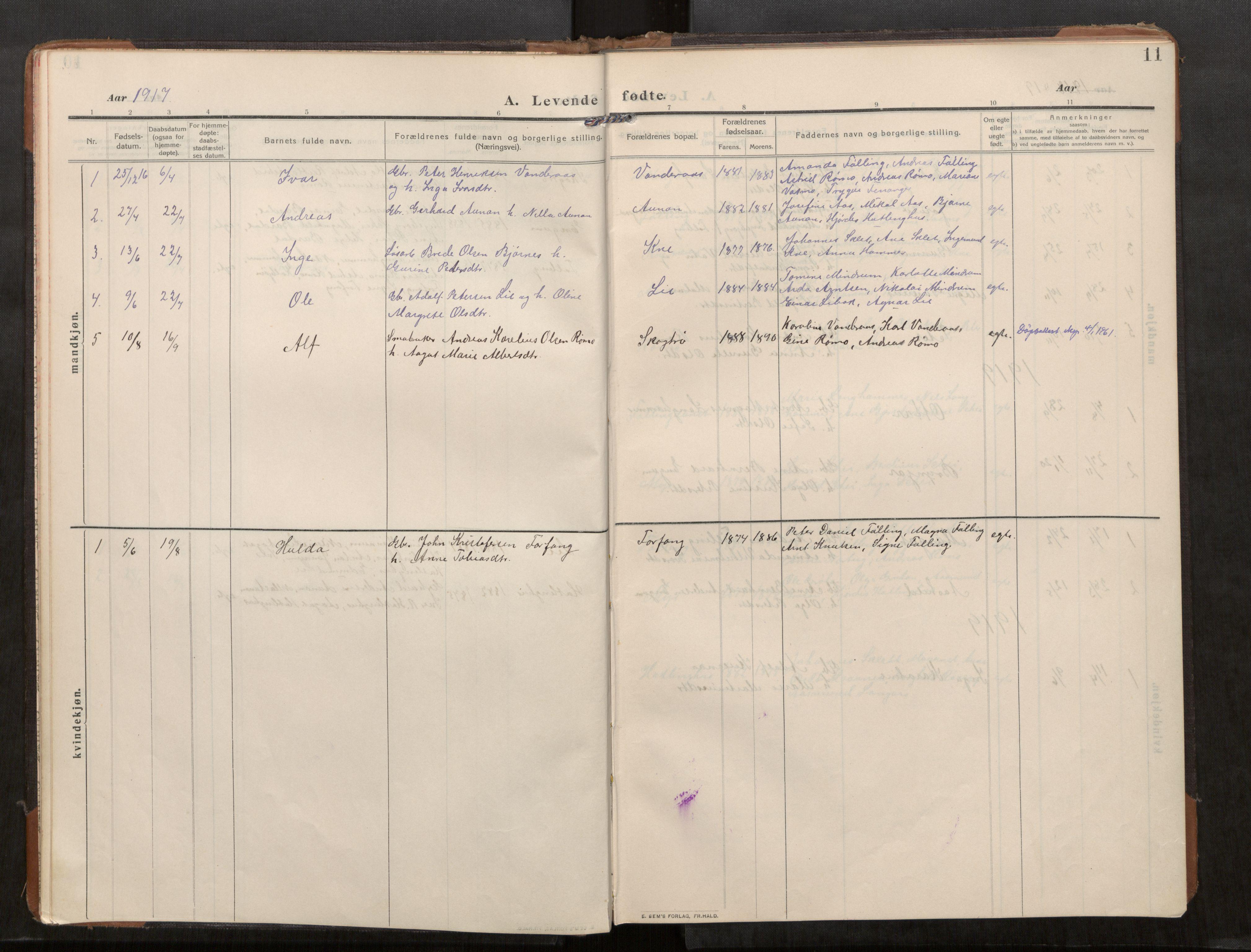 SAT, Stod sokneprestkontor, I/I1/I1a/L0003: Parish register (official) no. 3, 1909-1934, p. 11