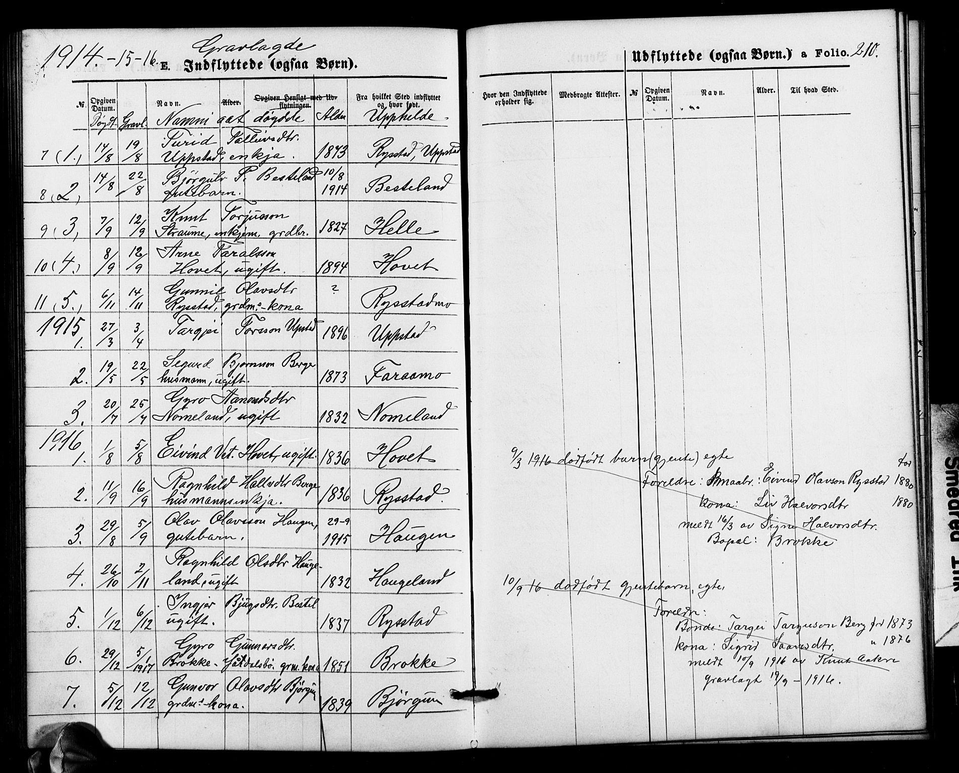 SAK, Valle sokneprestkontor, F/Fb/Fbb/L0002: Parish register (copy) no. B 2, 1875-1921, p. 210