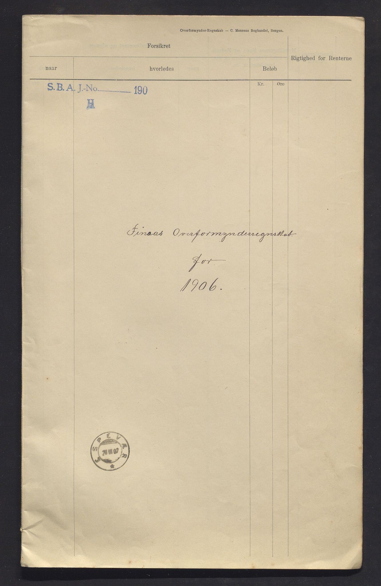 IKAH, Finnaas kommune. Overformynderiet, R/Ra/Raa/L0007: Årlege rekneskap m/vedlegg, 1906