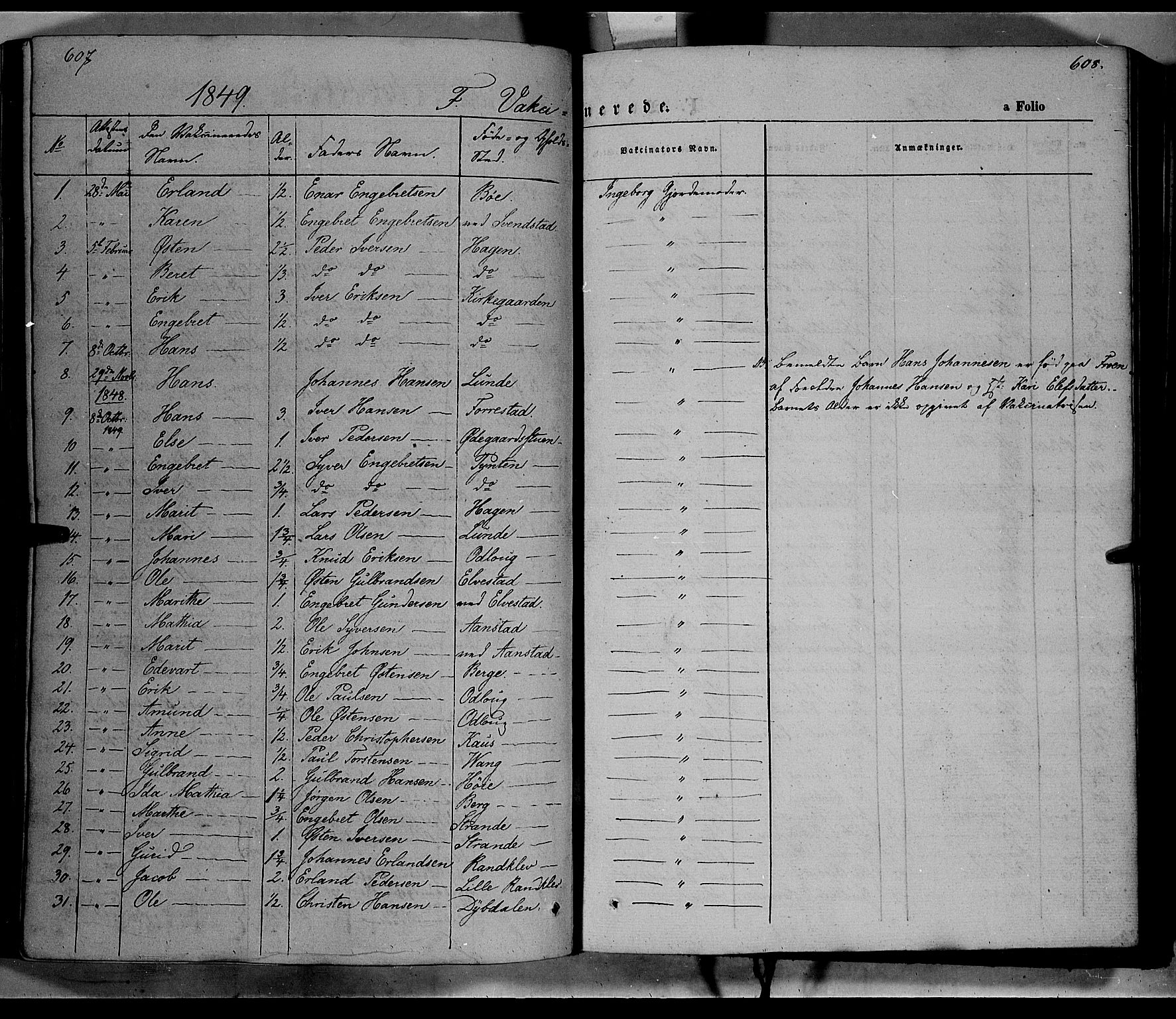 SAH, Ringebu prestekontor, Parish register (official) no. 6, 1848-1859, p. 607-608