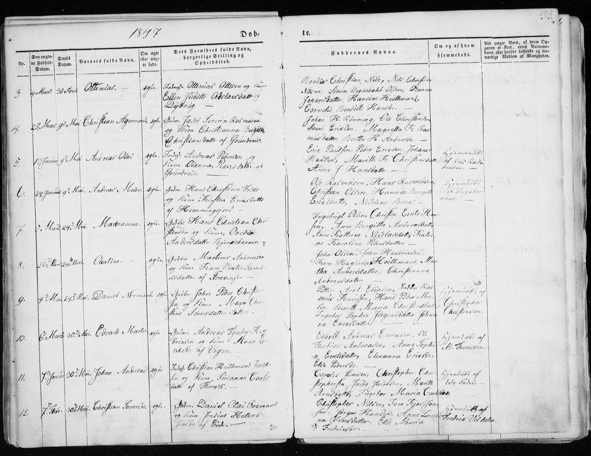 SATØ, Tranøy sokneprestkontor, I/Ia/Iaa/L0006kirke: Parish register (official) no. 6, 1844-1855, p. 33