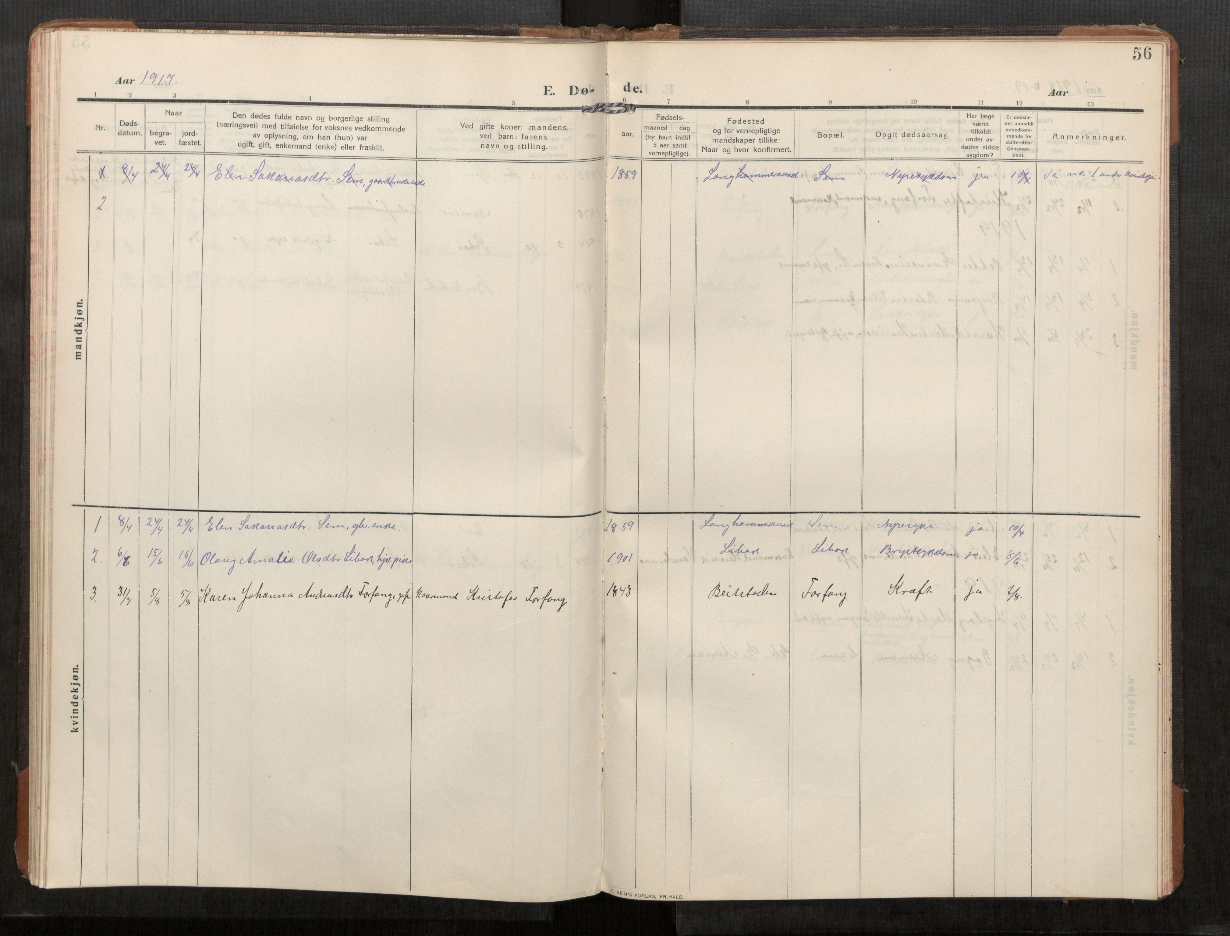 SAT, Stod sokneprestkontor, I/I1/I1a/L0003: Parish register (official) no. 3, 1909-1934, p. 56