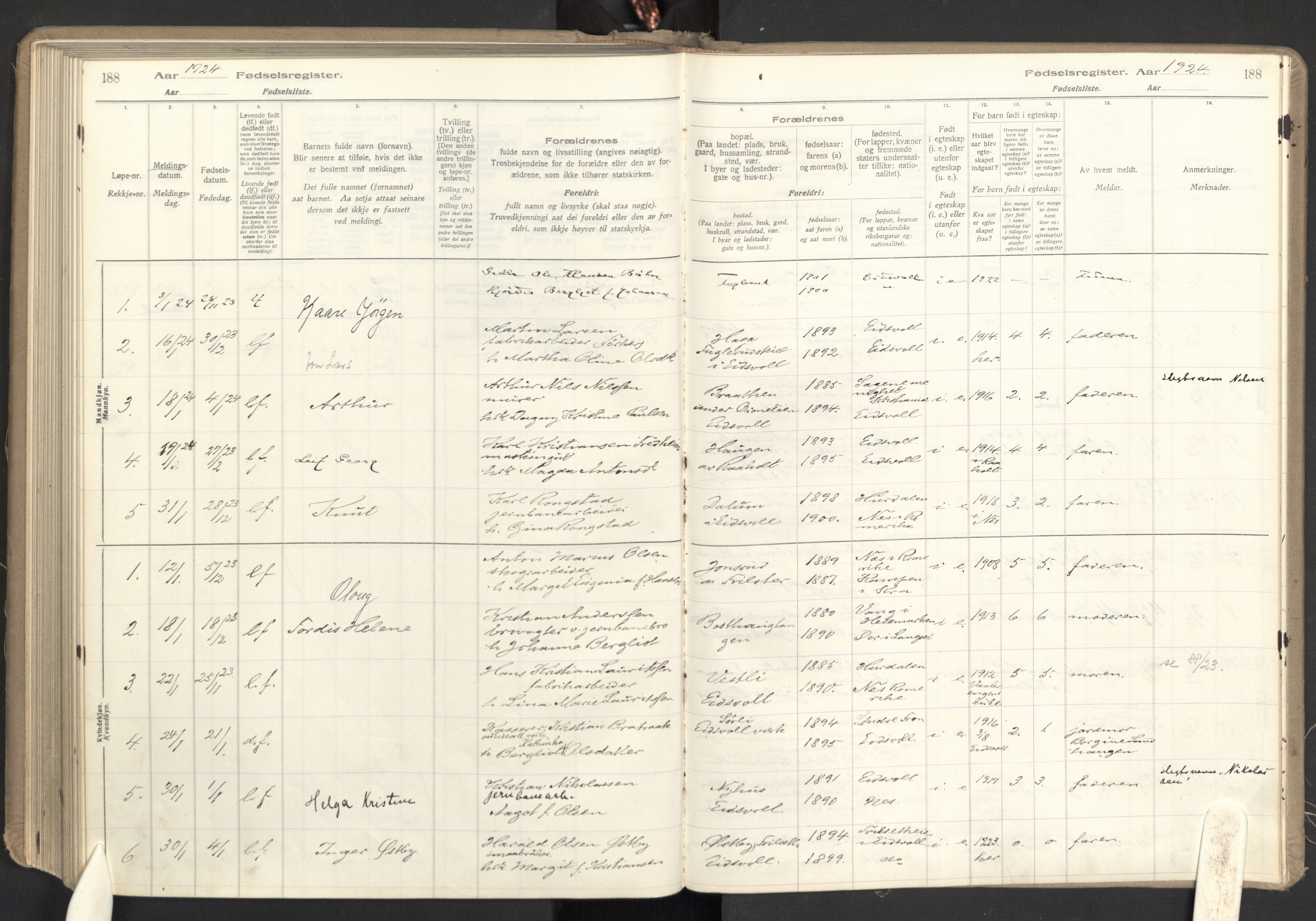 SAO, Eidsvoll prestekontor Kirkebøker, Birth register no. I 1, 1916-1924, p. 188