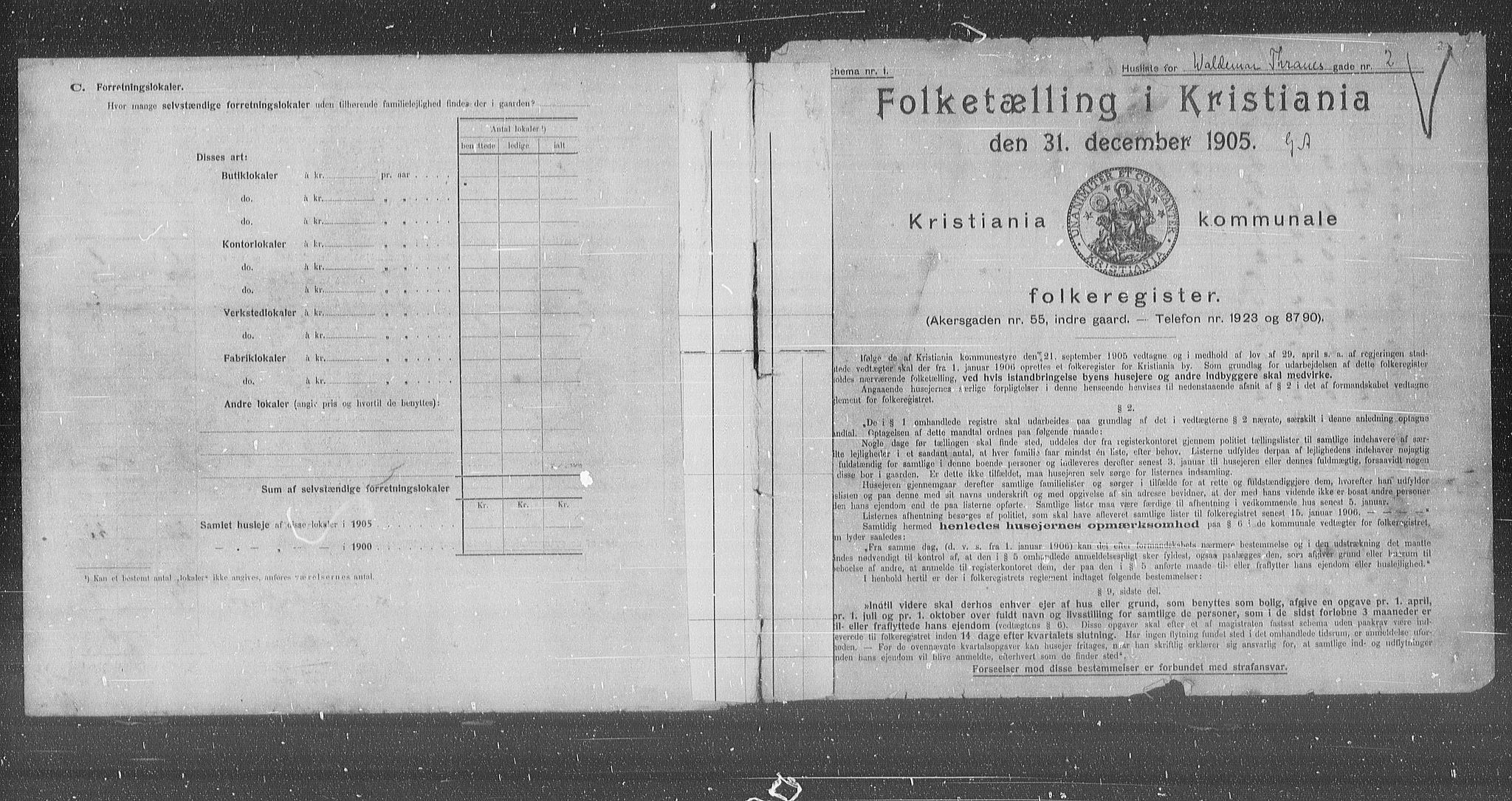 OBA, Municipal Census 1905 for Kristiania, 1905, p. 66341