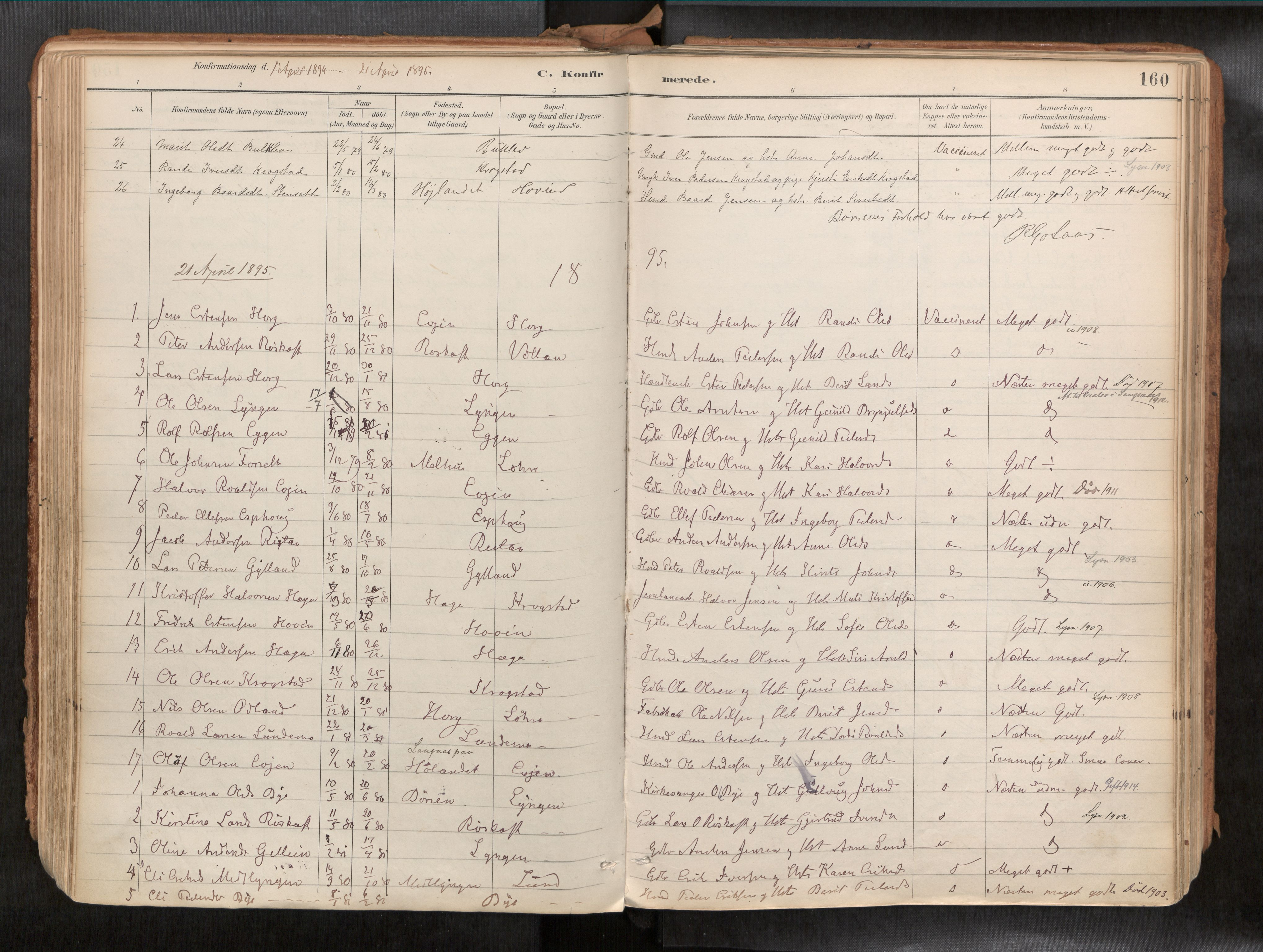SAT, Ministerialprotokoller, klokkerbøker og fødselsregistre - Sør-Trøndelag, 692/L1105b: Parish register (official) no. 692A06, 1891-1934, p. 160