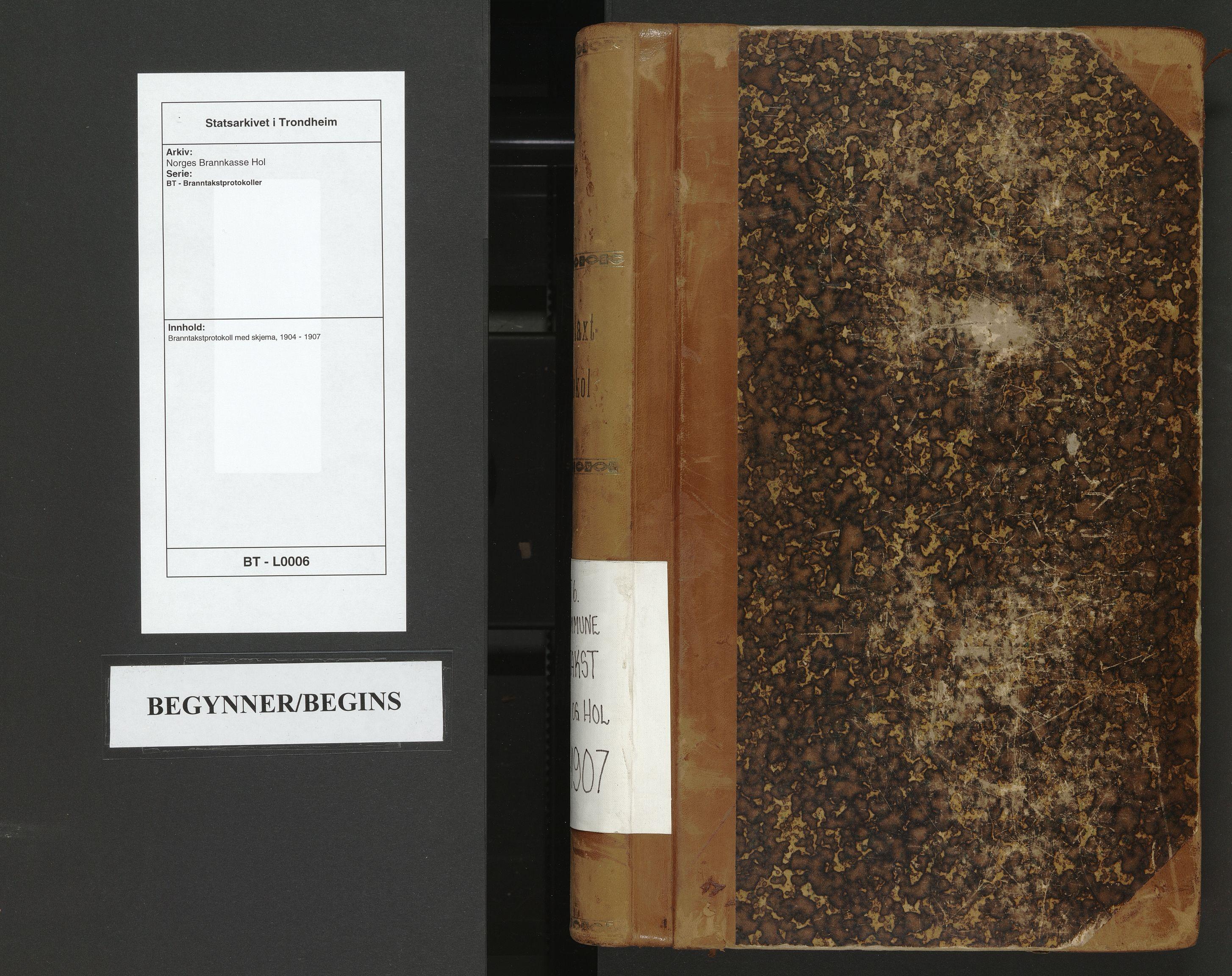 SAT, Norges Brannkasse Hol, BT/L0006: Branntakstprotokoll med skjema, 1904-1907