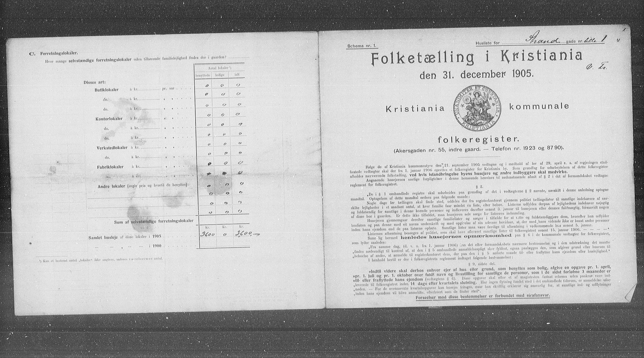 OBA, Municipal Census 1905 for Kristiania, 1905, p. 30250