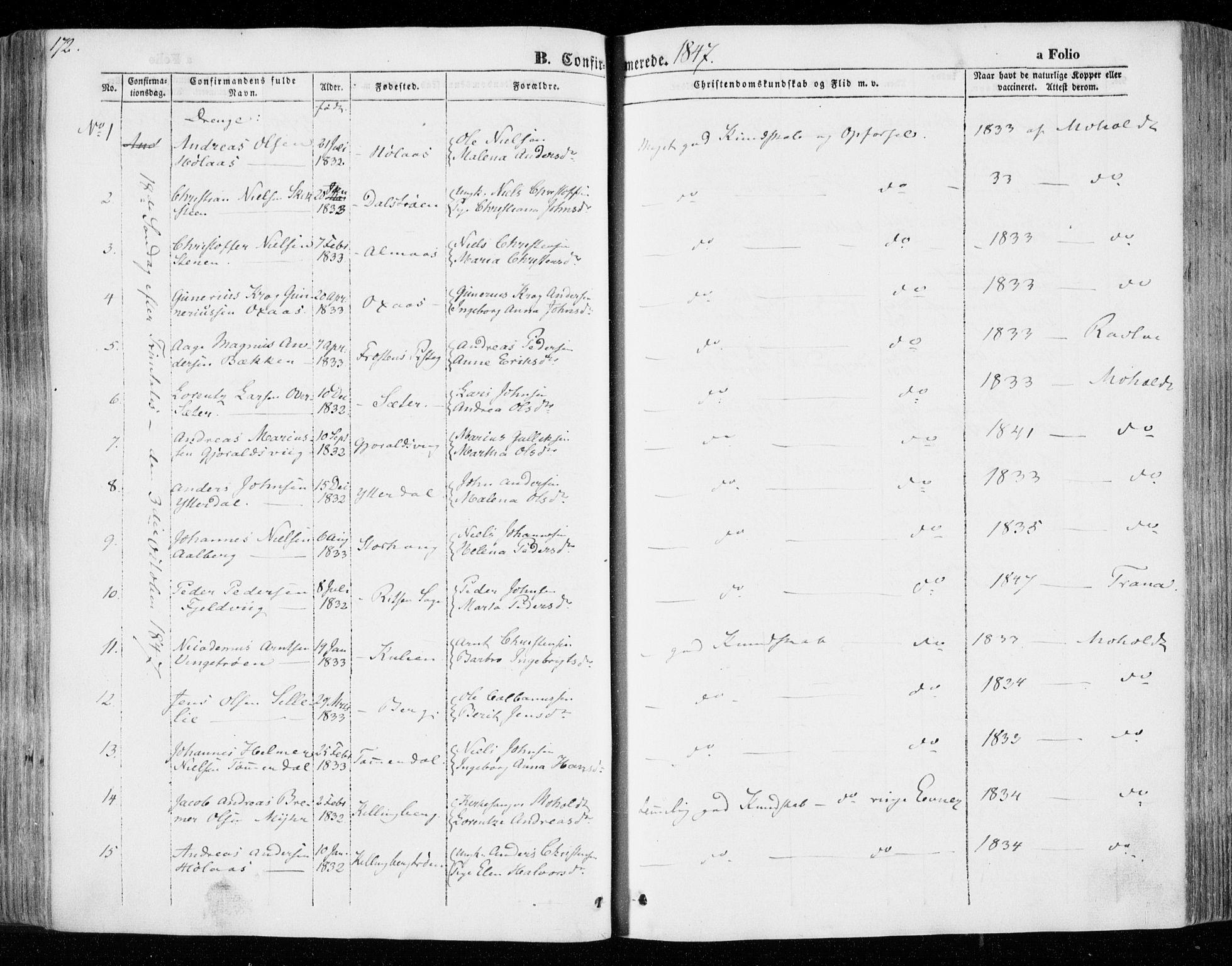 SAT, Ministerialprotokoller, klokkerbøker og fødselsregistre - Nord-Trøndelag, 701/L0007: Parish register (official) no. 701A07 /1, 1842-1854, p. 172
